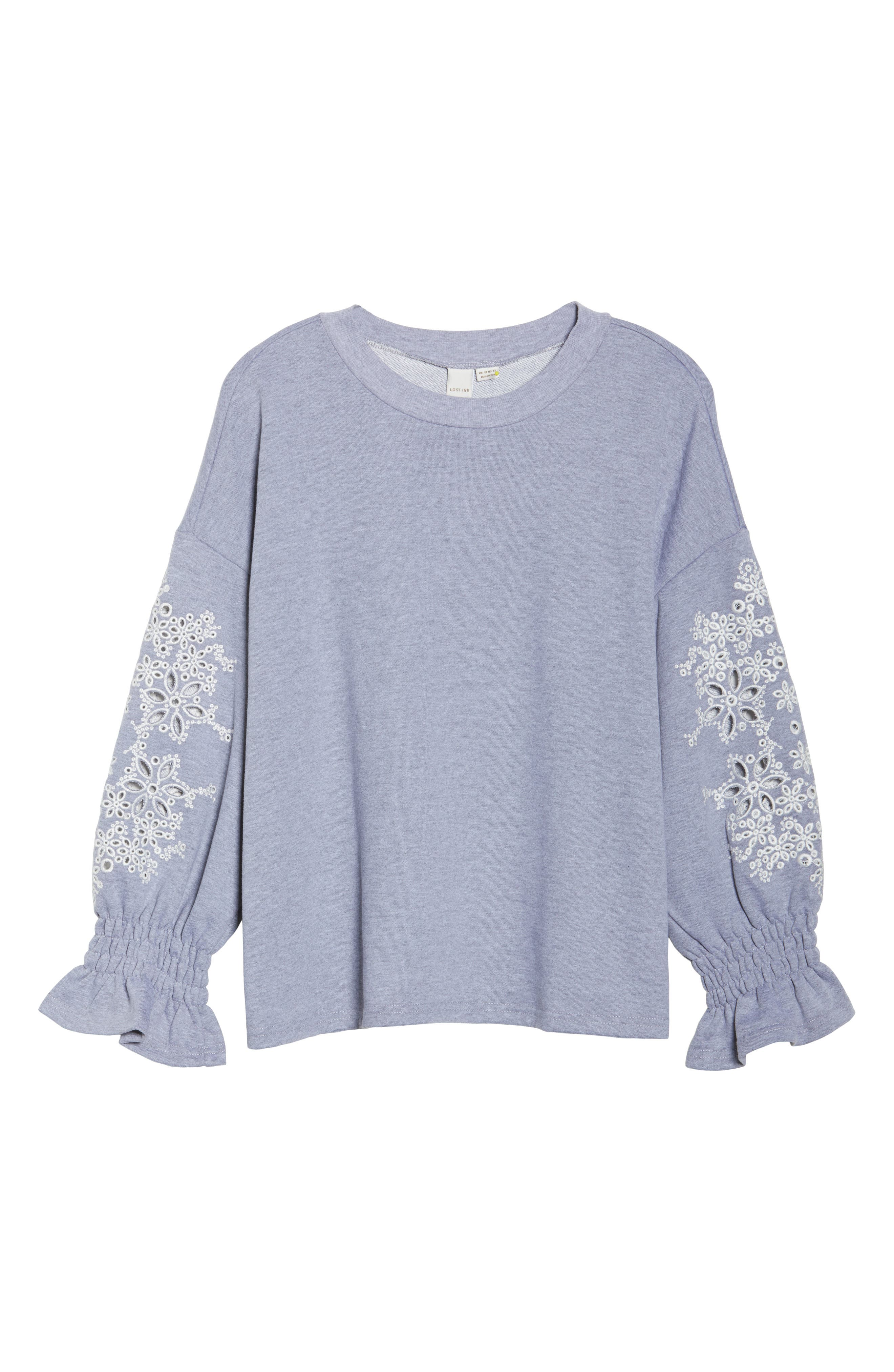 Broderie Anglaise Embellished Sweatshirt,                             Alternate thumbnail 6, color,                             020