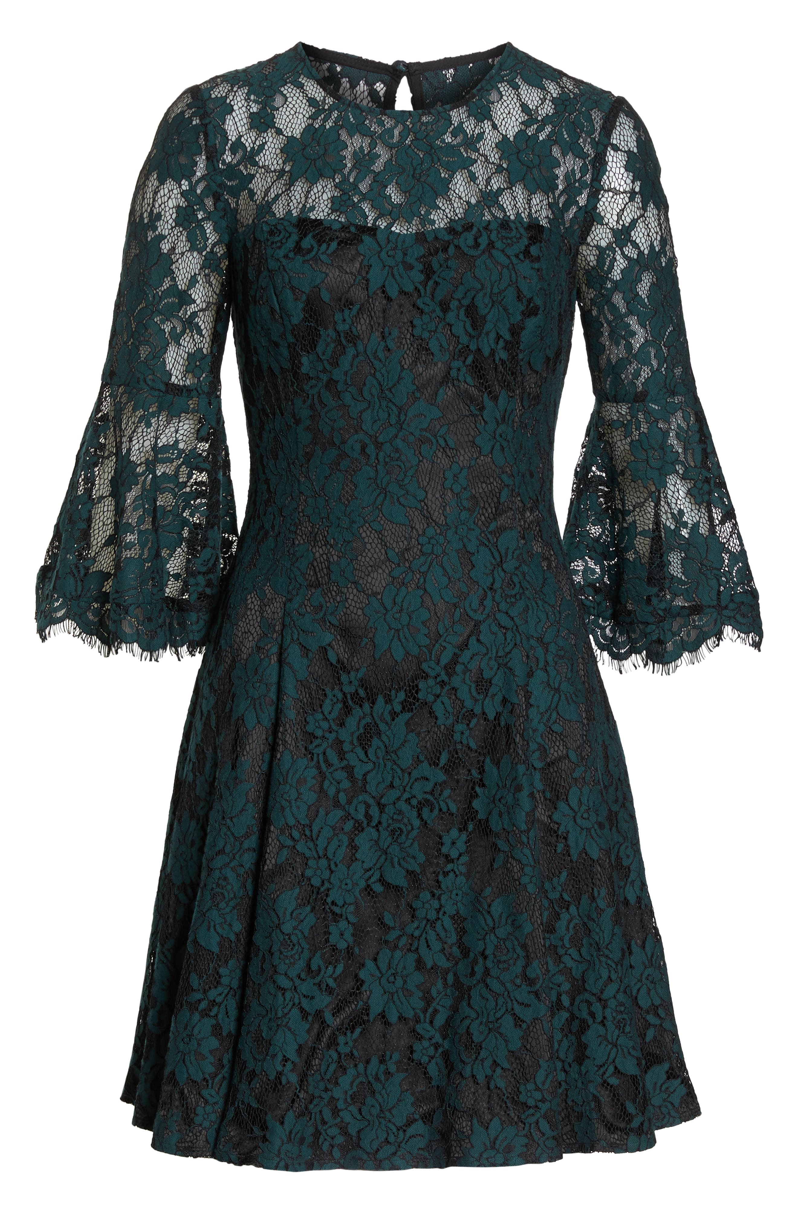 Bell Sleeve Lace Dress,                             Alternate thumbnail 7, color,                             GREEN