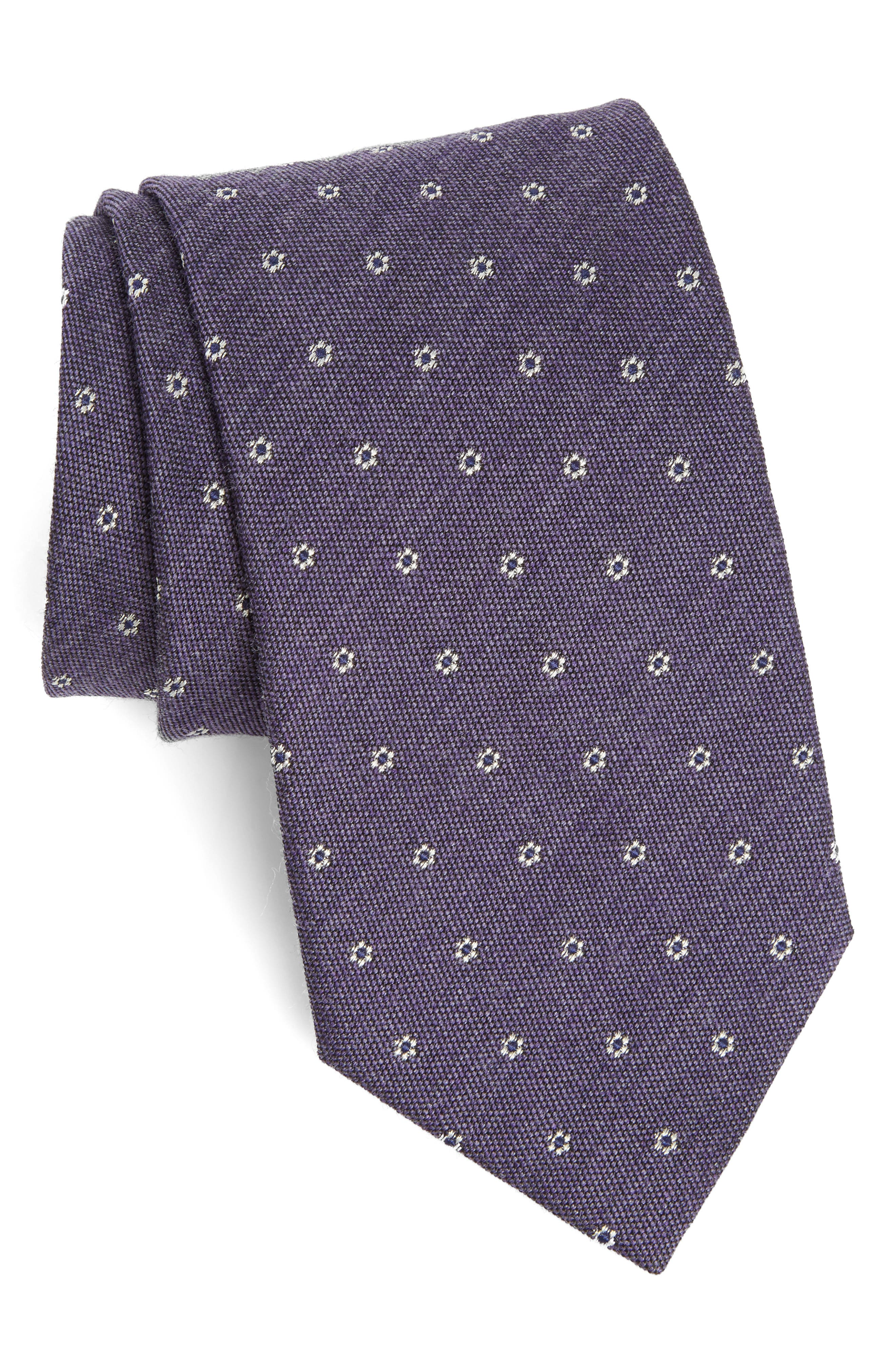 Heather Floral Silk & Wool Tie,                             Main thumbnail 4, color,