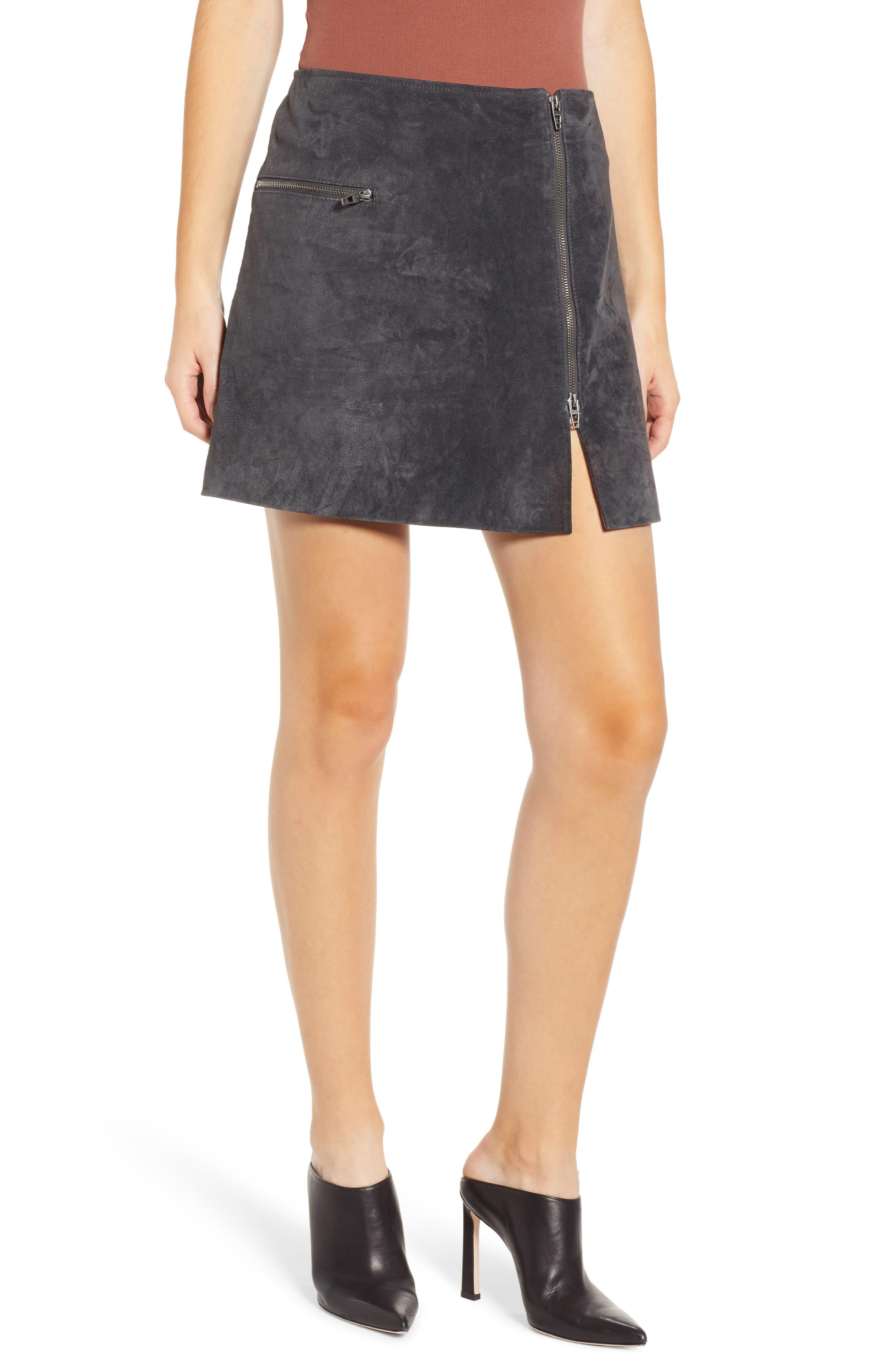 A-Line Suede Miniskirt, Main, color, 020