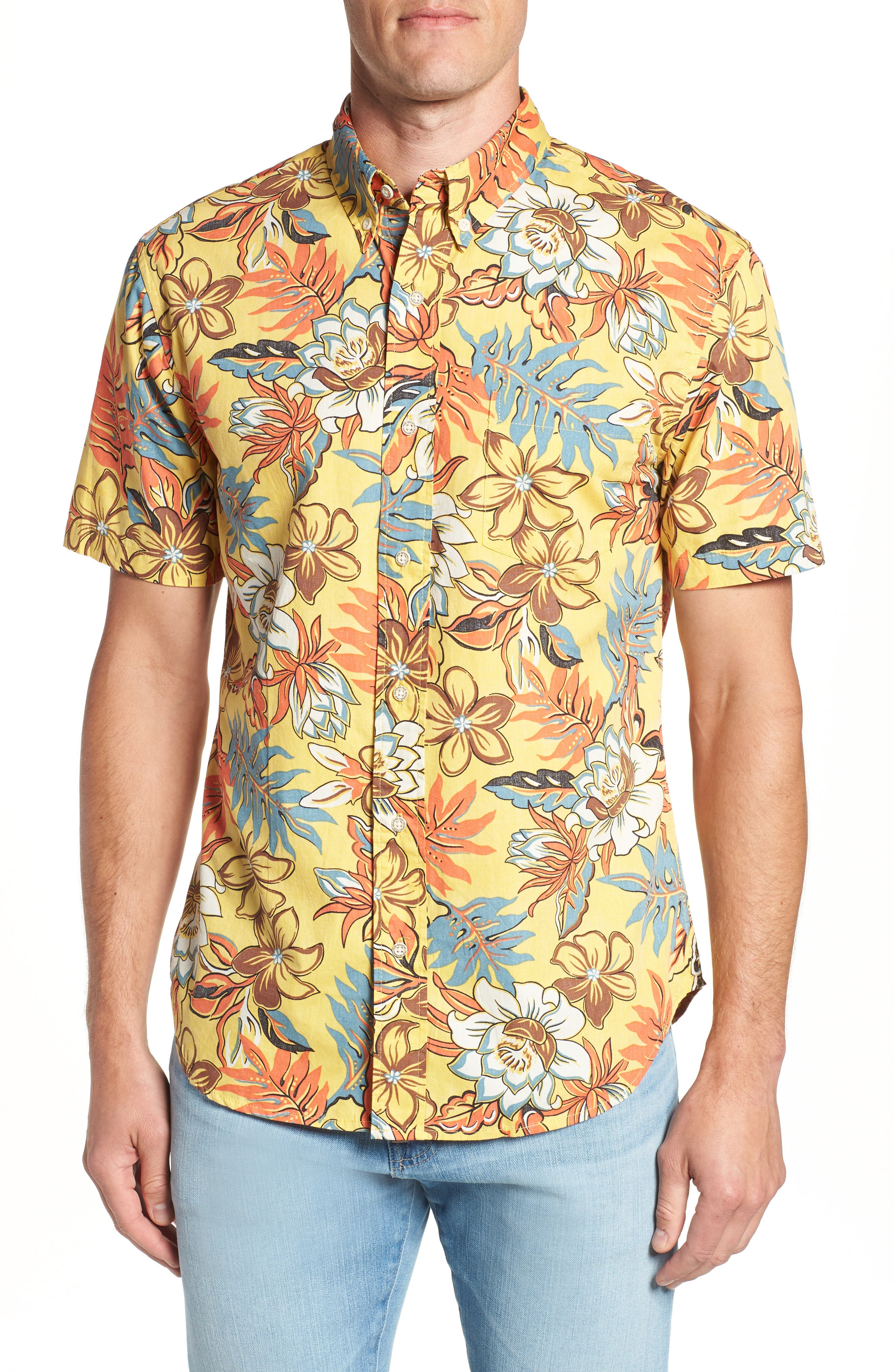 Vintage Hawaiian Regular Fit Floral Sport Shirt,                             Main thumbnail 1, color,                             700