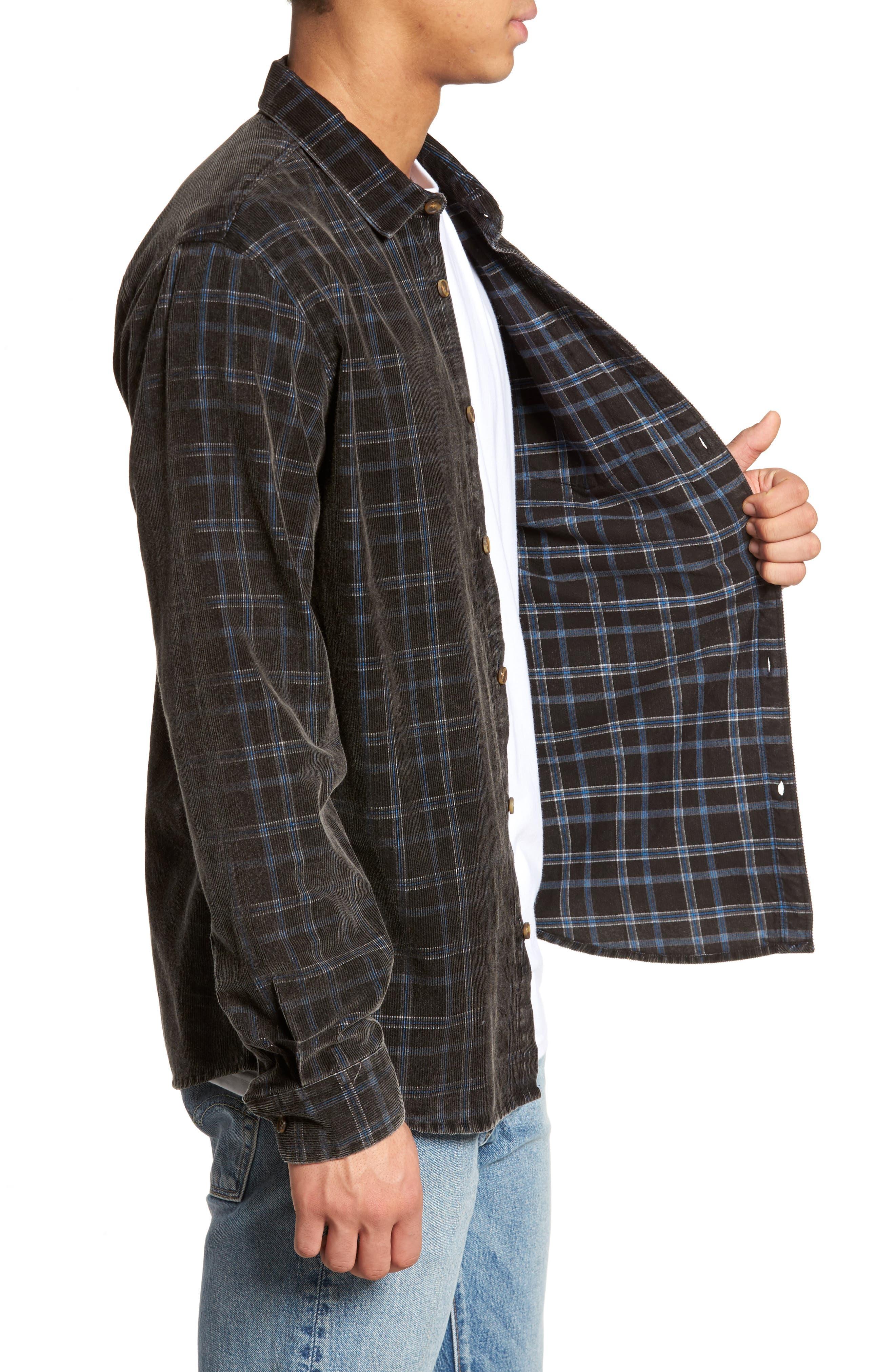 Bradley Corduroy Shirt,                             Alternate thumbnail 3, color,                             001