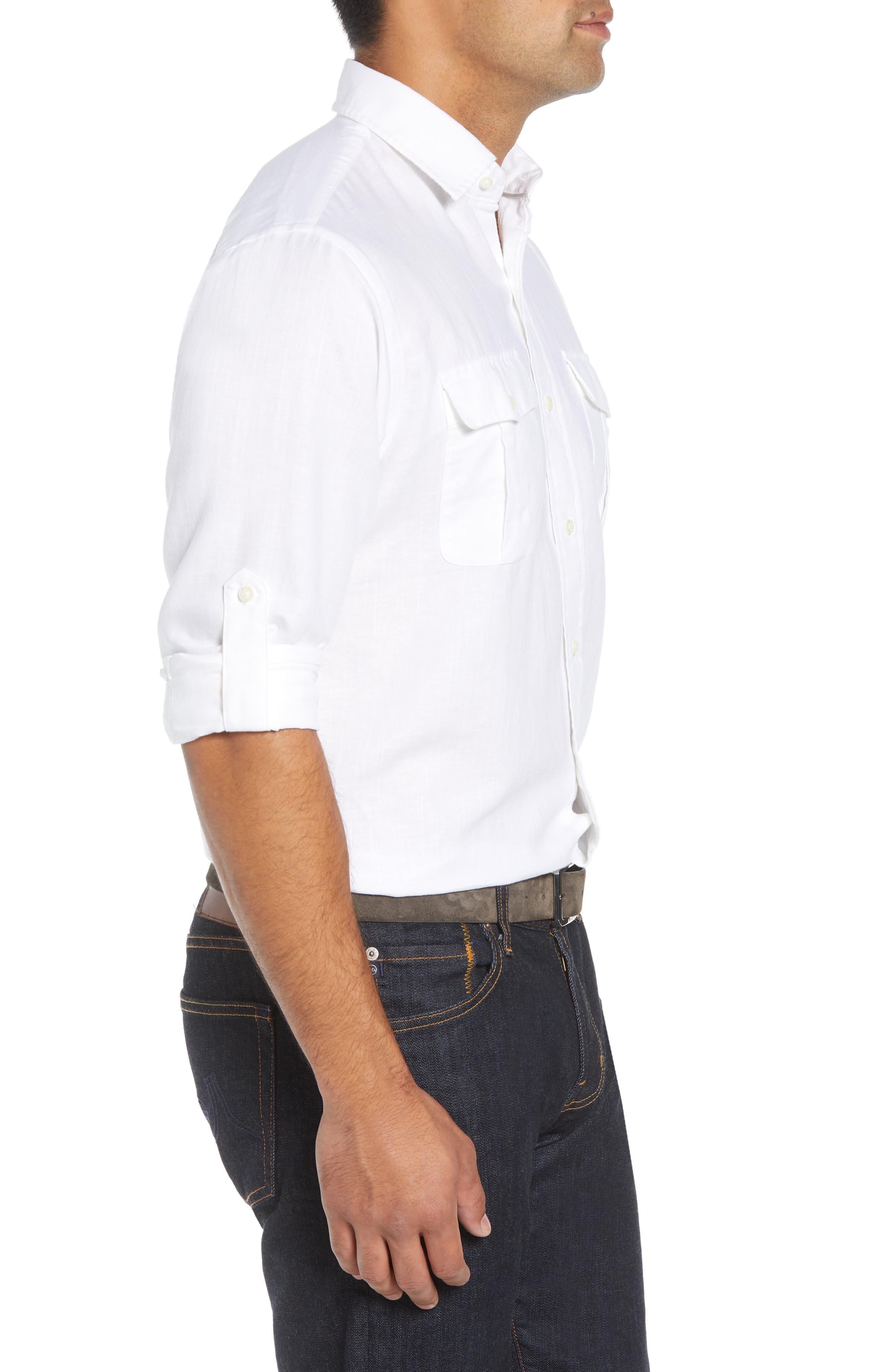 Harkers Regular Fit Herringbone Sport Shirt,                             Alternate thumbnail 4, color,                             100