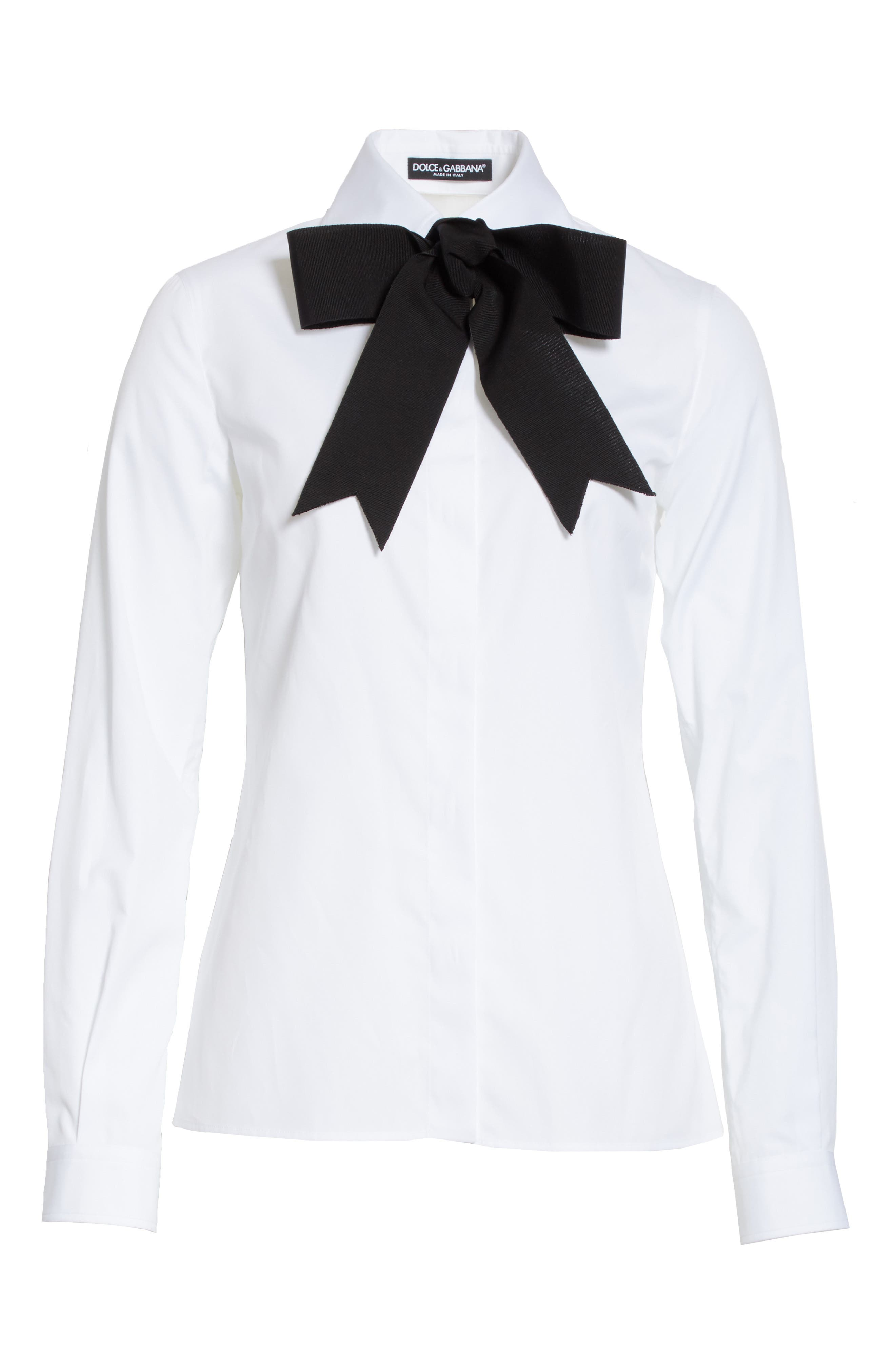 Cotton Poplin Blouse with Bow,                             Alternate thumbnail 6, color,                             101