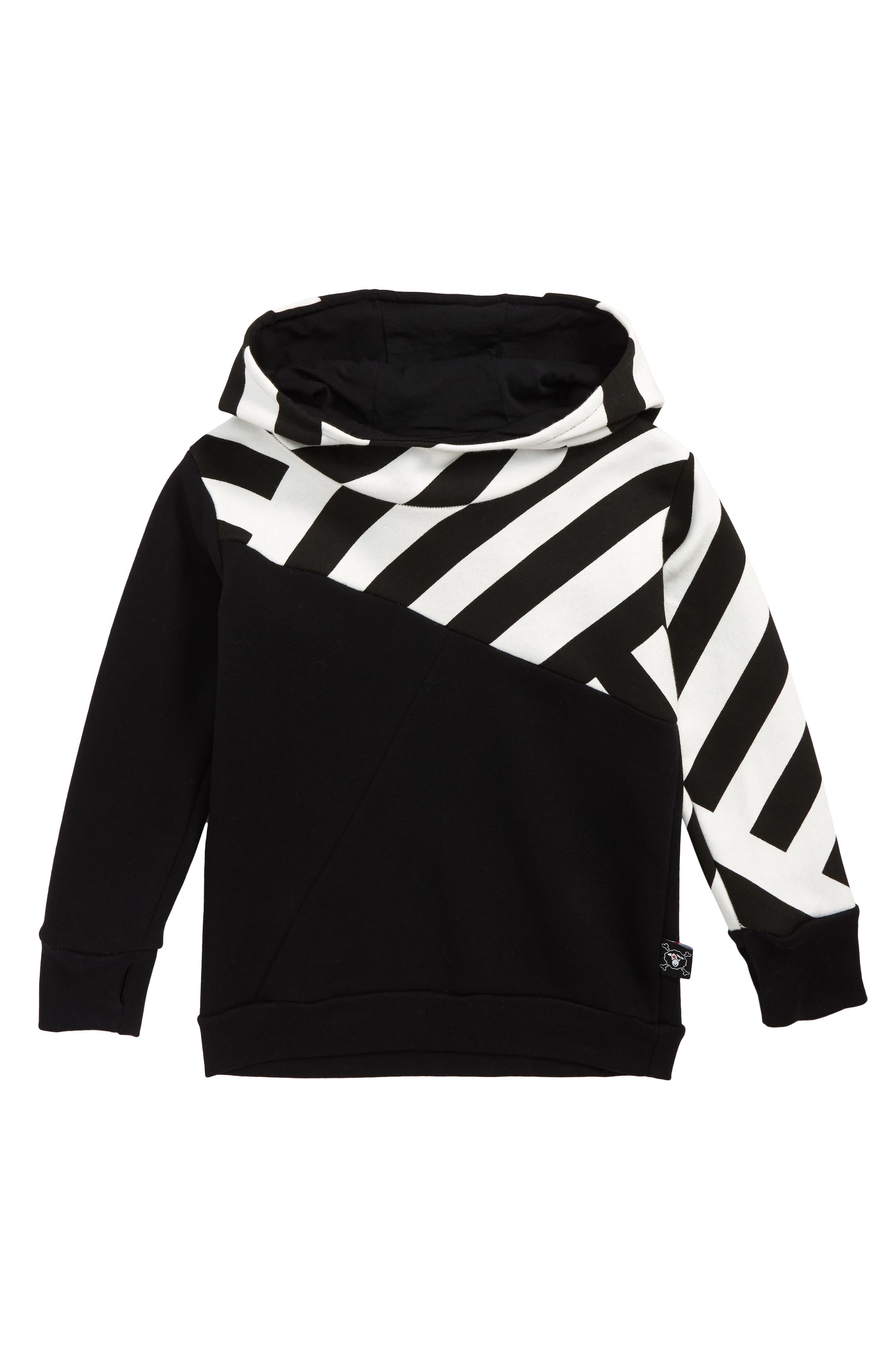 Part Stripe Pullover Hoodie,                         Main,                         color, BLACK