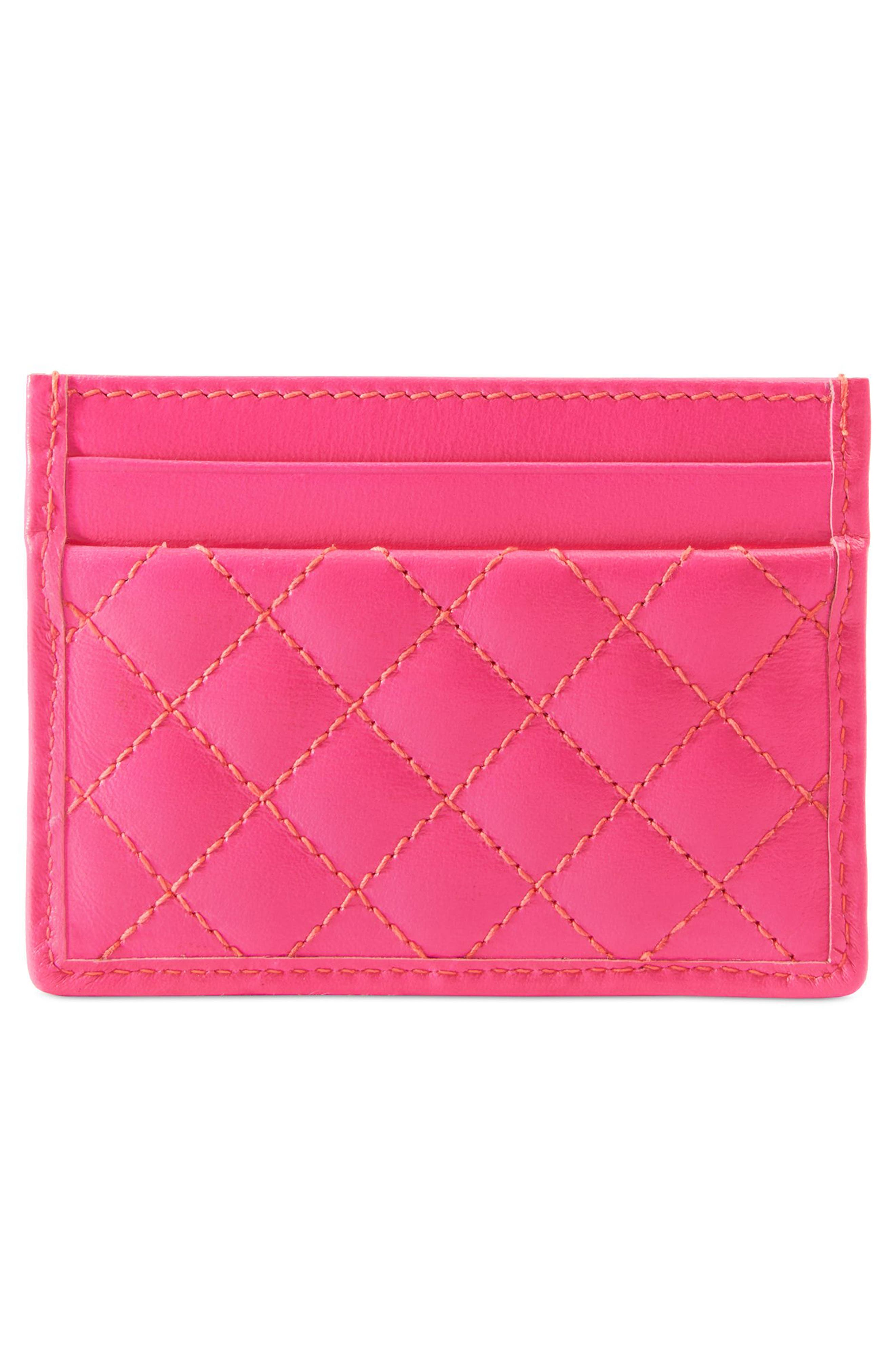Quilted Leather Card Case,                             Alternate thumbnail 3, color,                             670