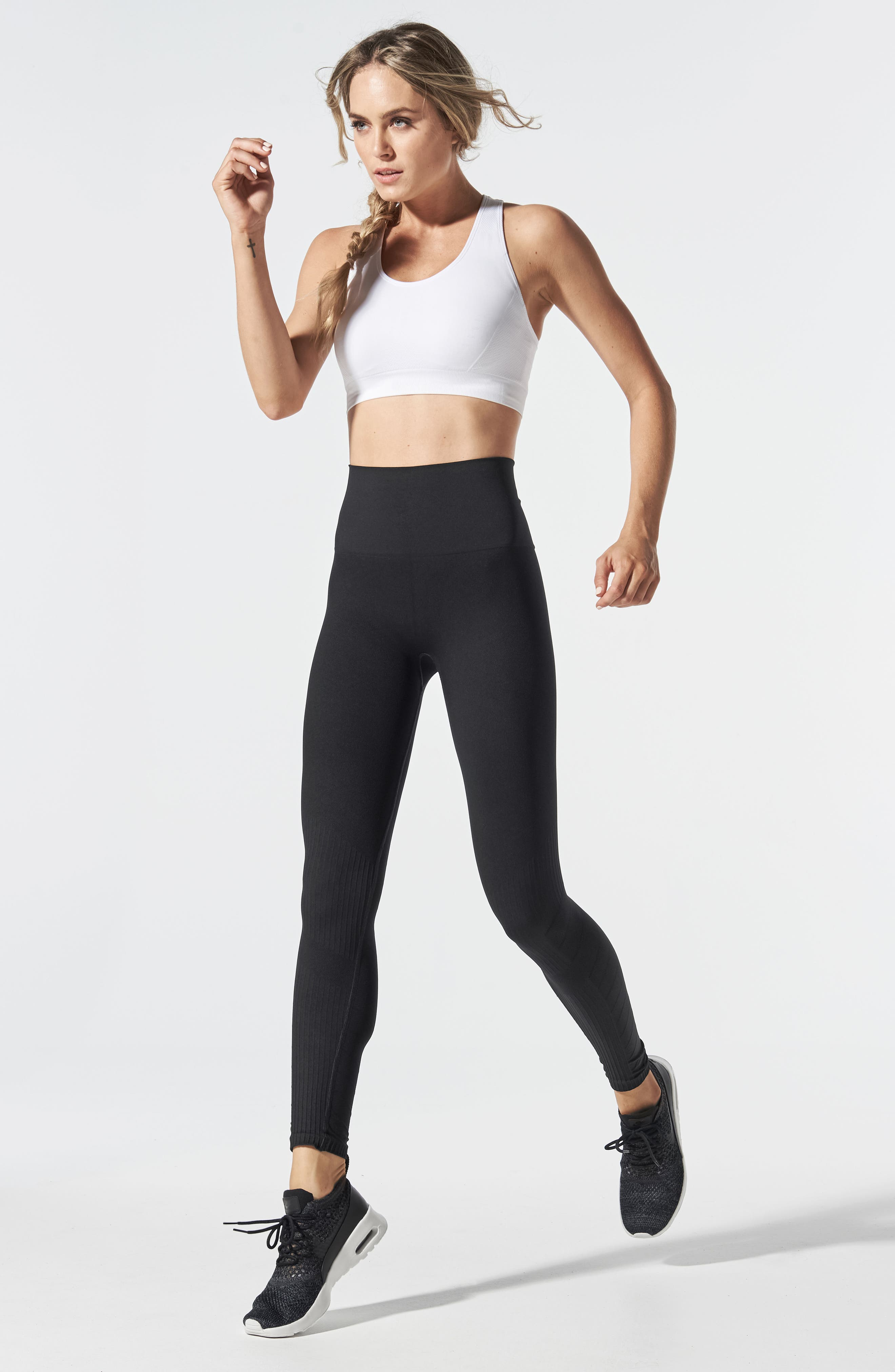 SportSupport<sup>®</sup> Hipster Contour Support Maternity/Postpartum Leggings,                             Alternate thumbnail 6, color,                             BLACK