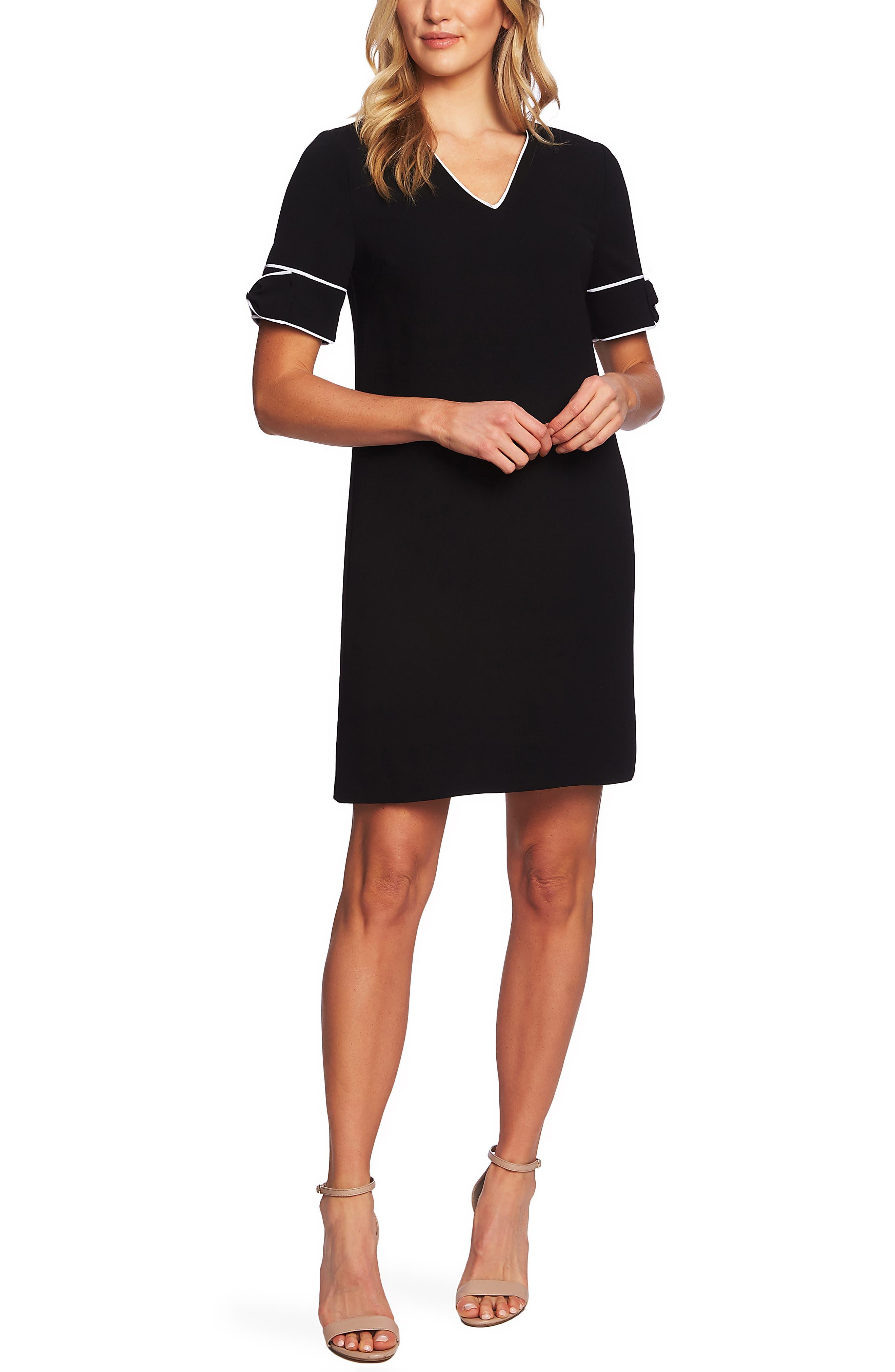 CECE Bow Trim Shift Dress, Main, color, RICH BLACK