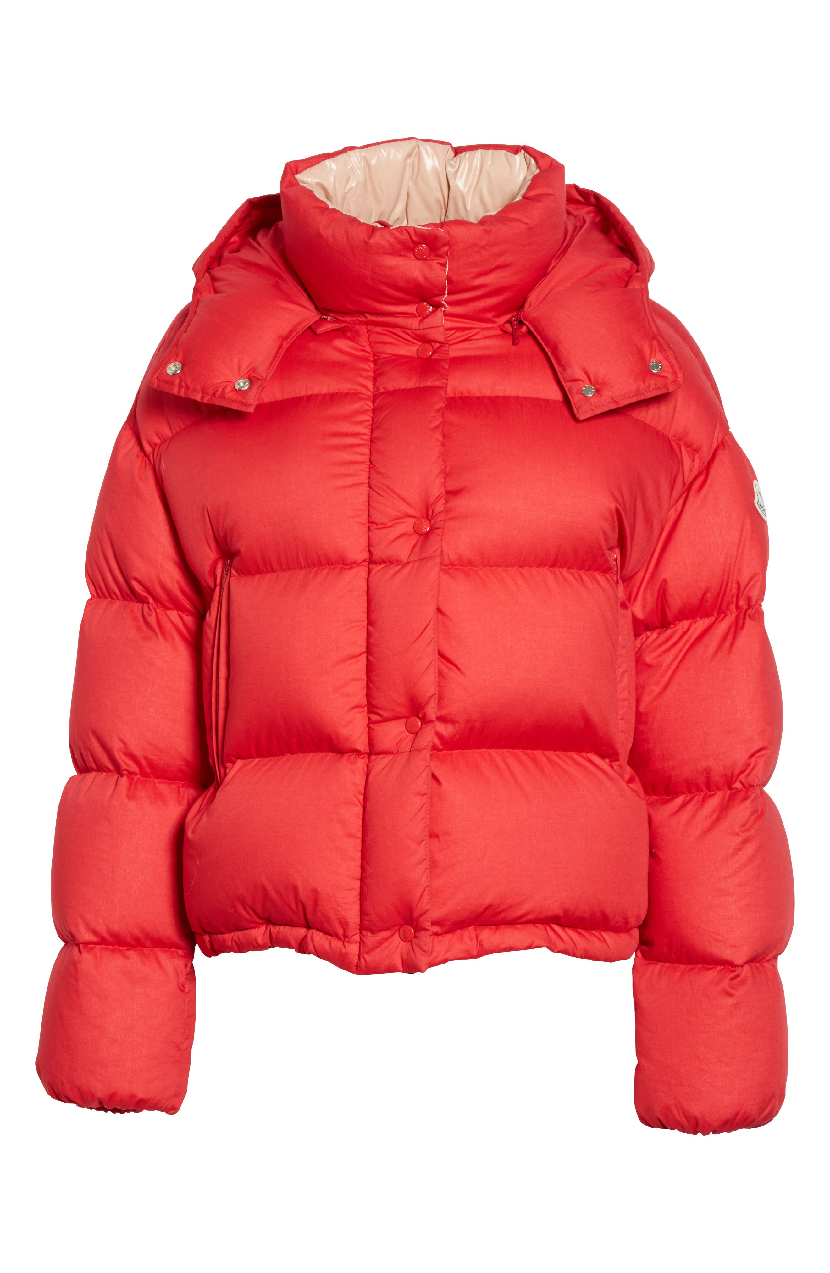 Paeonia Quilted Puffer Jacket,                             Alternate thumbnail 5, color,                             RED