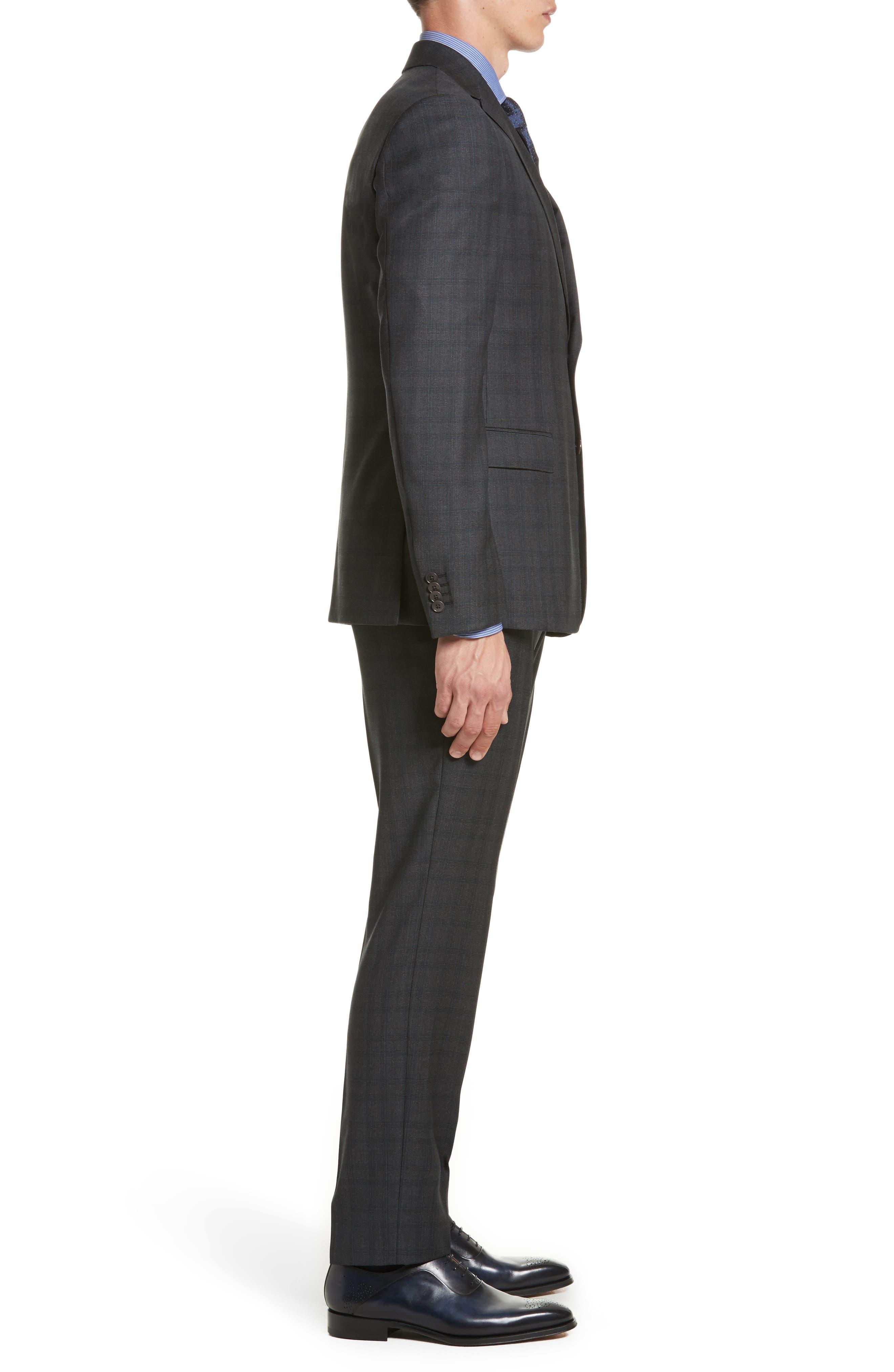 Classic Fit Plaid Wool Suit,                             Alternate thumbnail 3, color,                             026