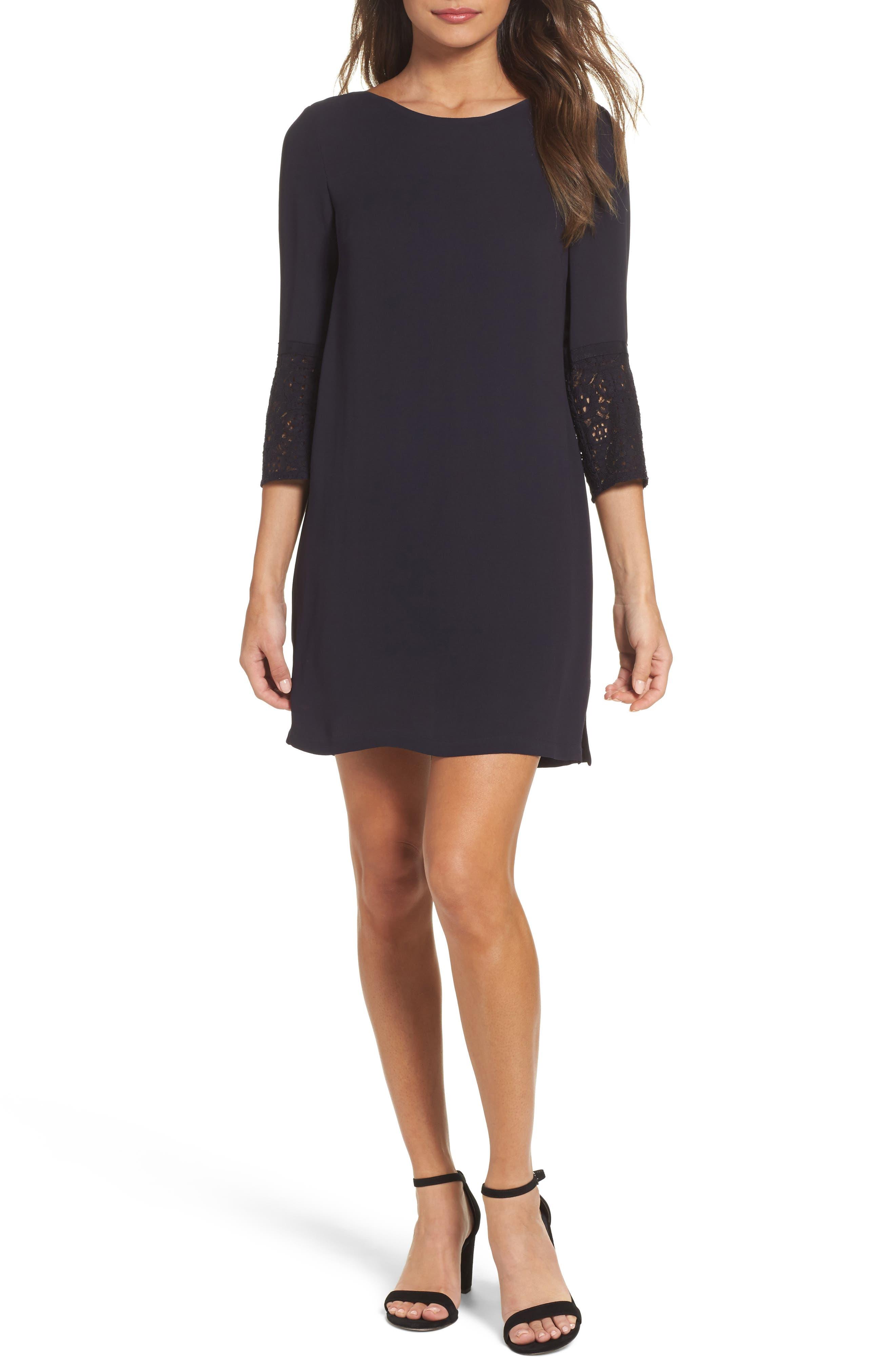 Ensor Crepe Shift Dress,                         Main,                         color, 420