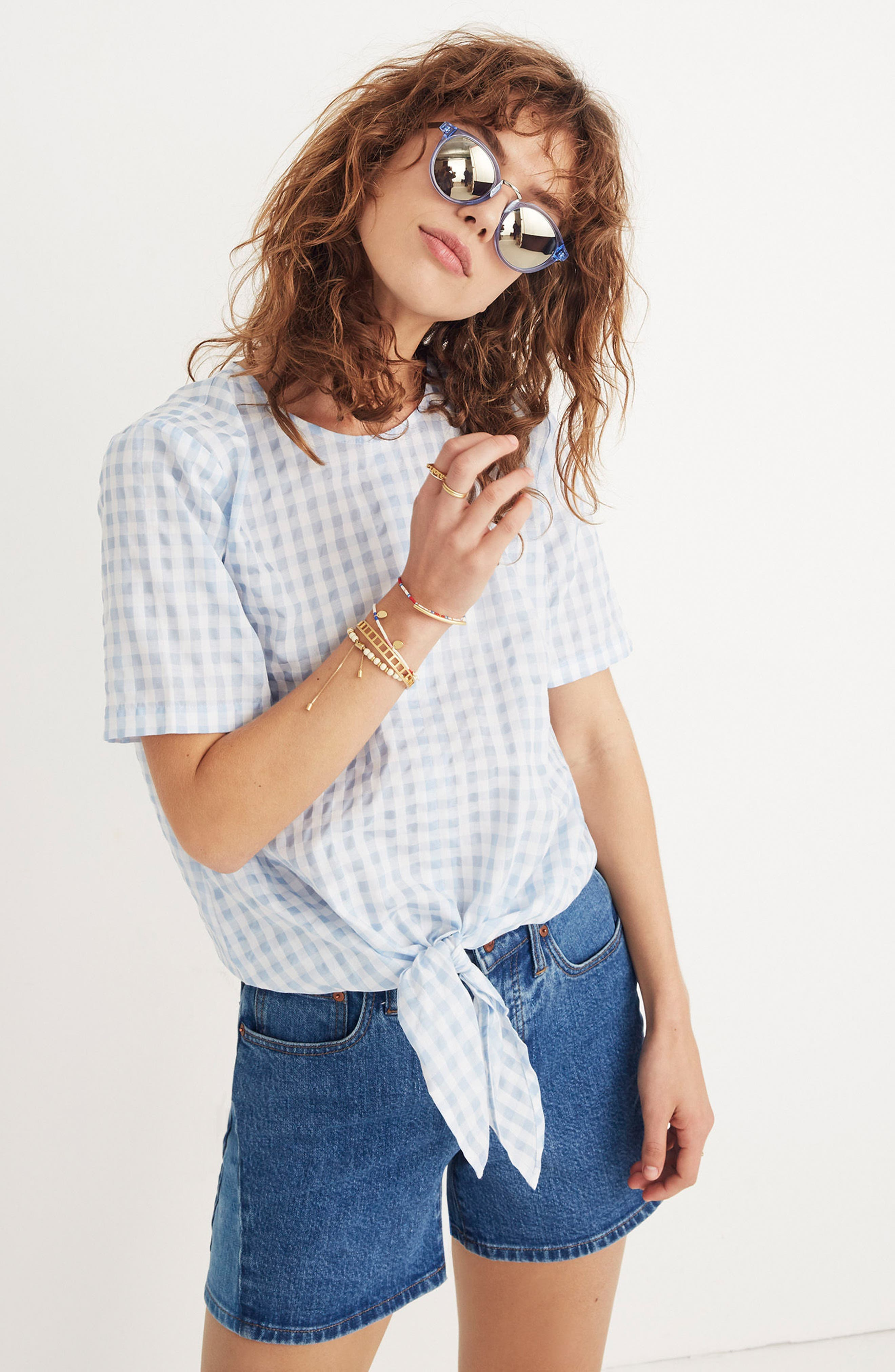 Button Back Tie Front Gingham Check Top,                             Alternate thumbnail 4, color,                             400