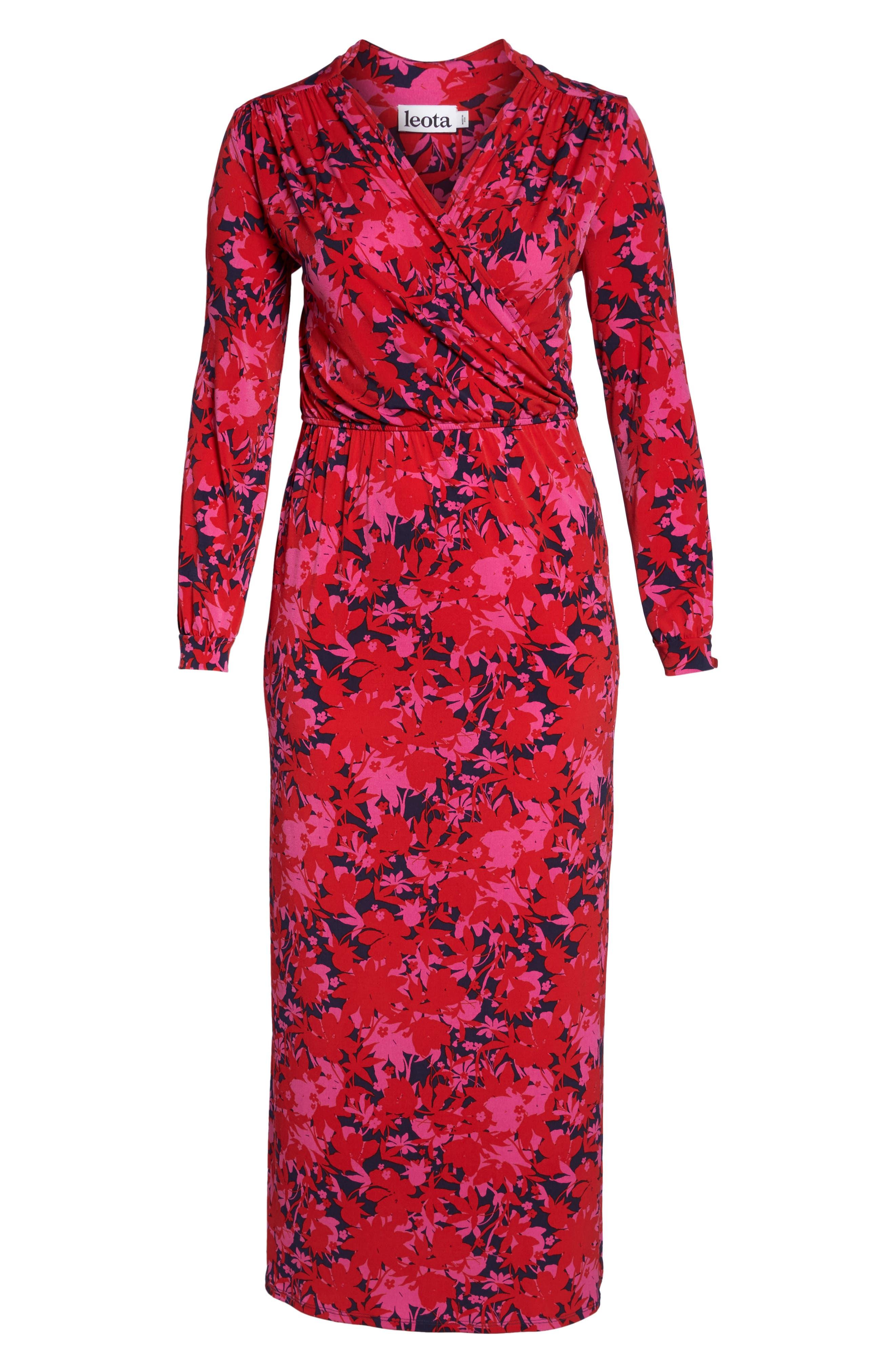 Bridget Floral Faux Wrap Maxi Dress,                             Alternate thumbnail 6, color,                             613