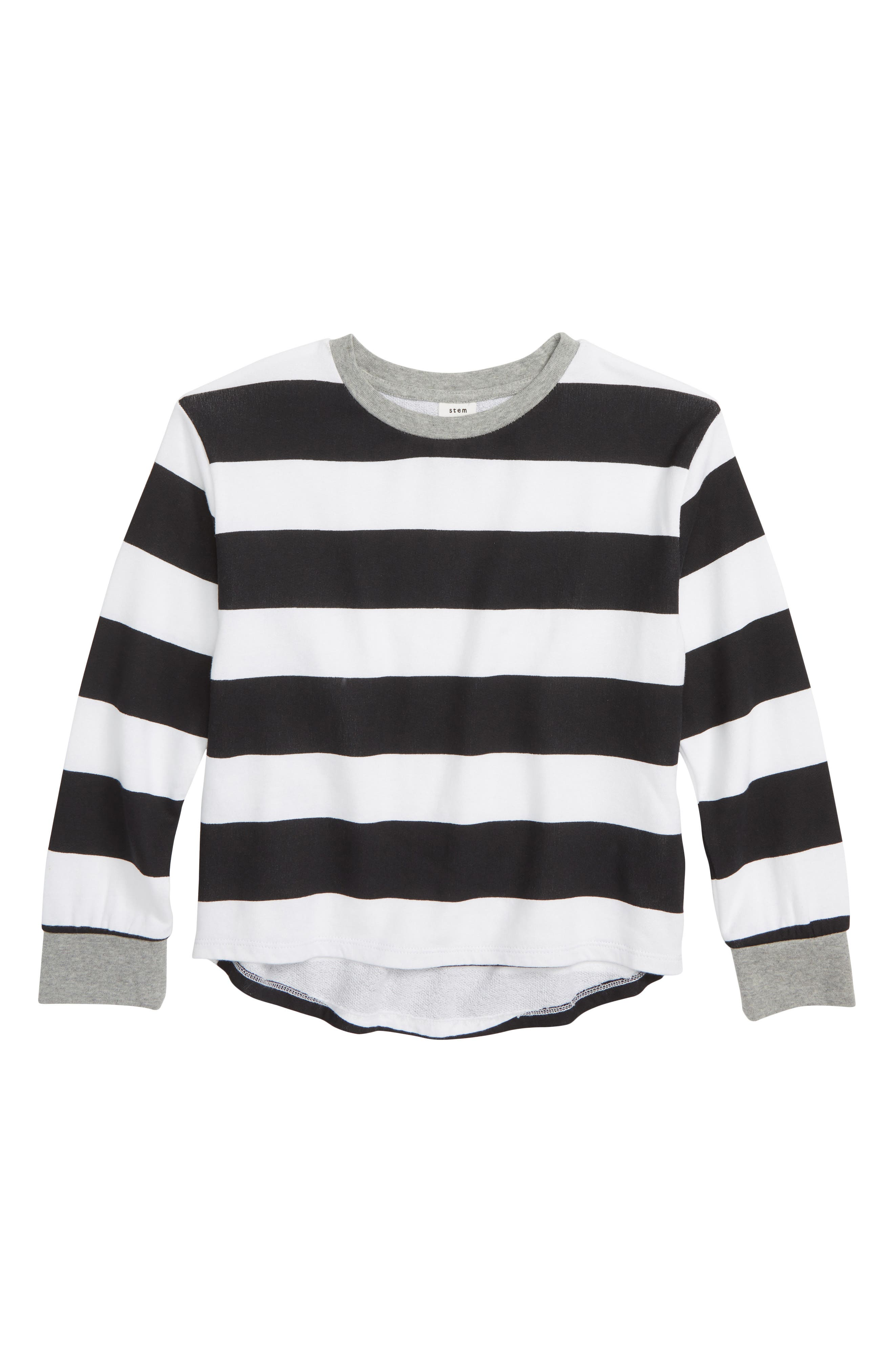 High/Low Sweatshirt,                             Main thumbnail 1, color,                             BLACK- WHITE STRIPE