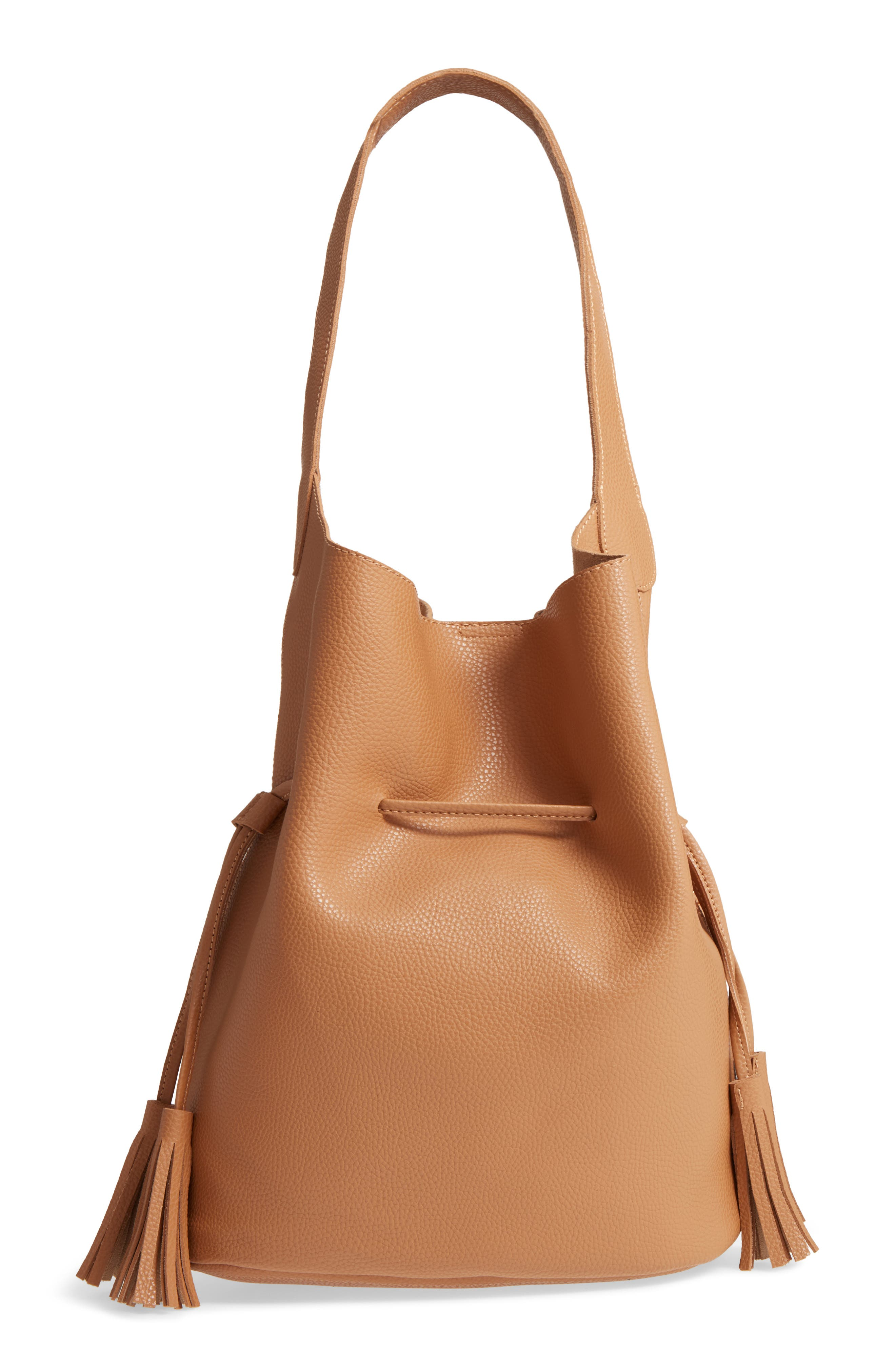 Drawstring Faux Leather Bucket Bag,                             Main thumbnail 1, color,                             NUDE