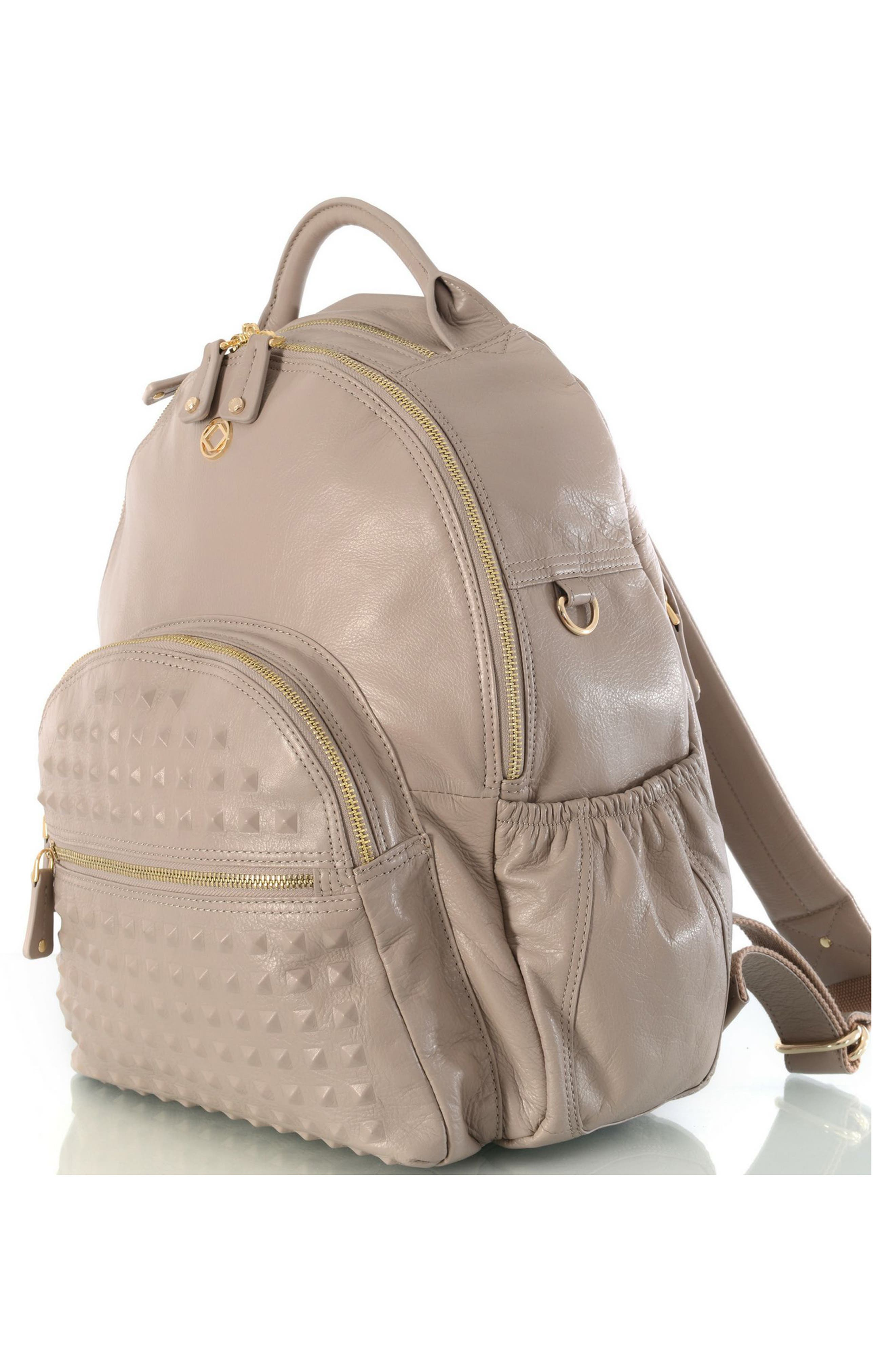 Joy Studded Diaper Backpack,                             Alternate thumbnail 4, color,                             TAUPE WITH GOLD HARWARE