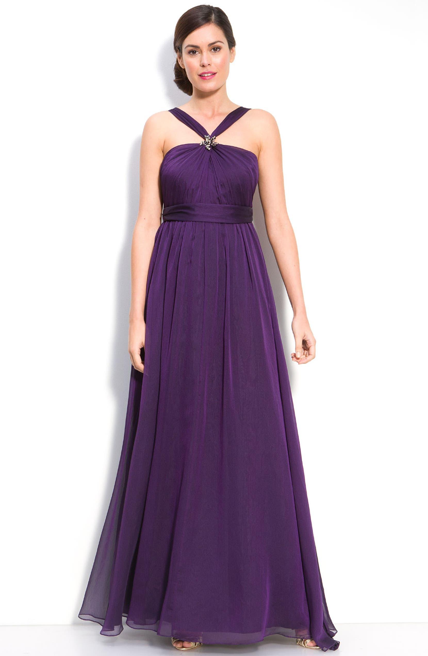 129dafad85416 ML Monique Lhuillier Bridesmaids Cationic Chiffon Halter Gown (Nordstrom  Exclusive) | Nordstrom