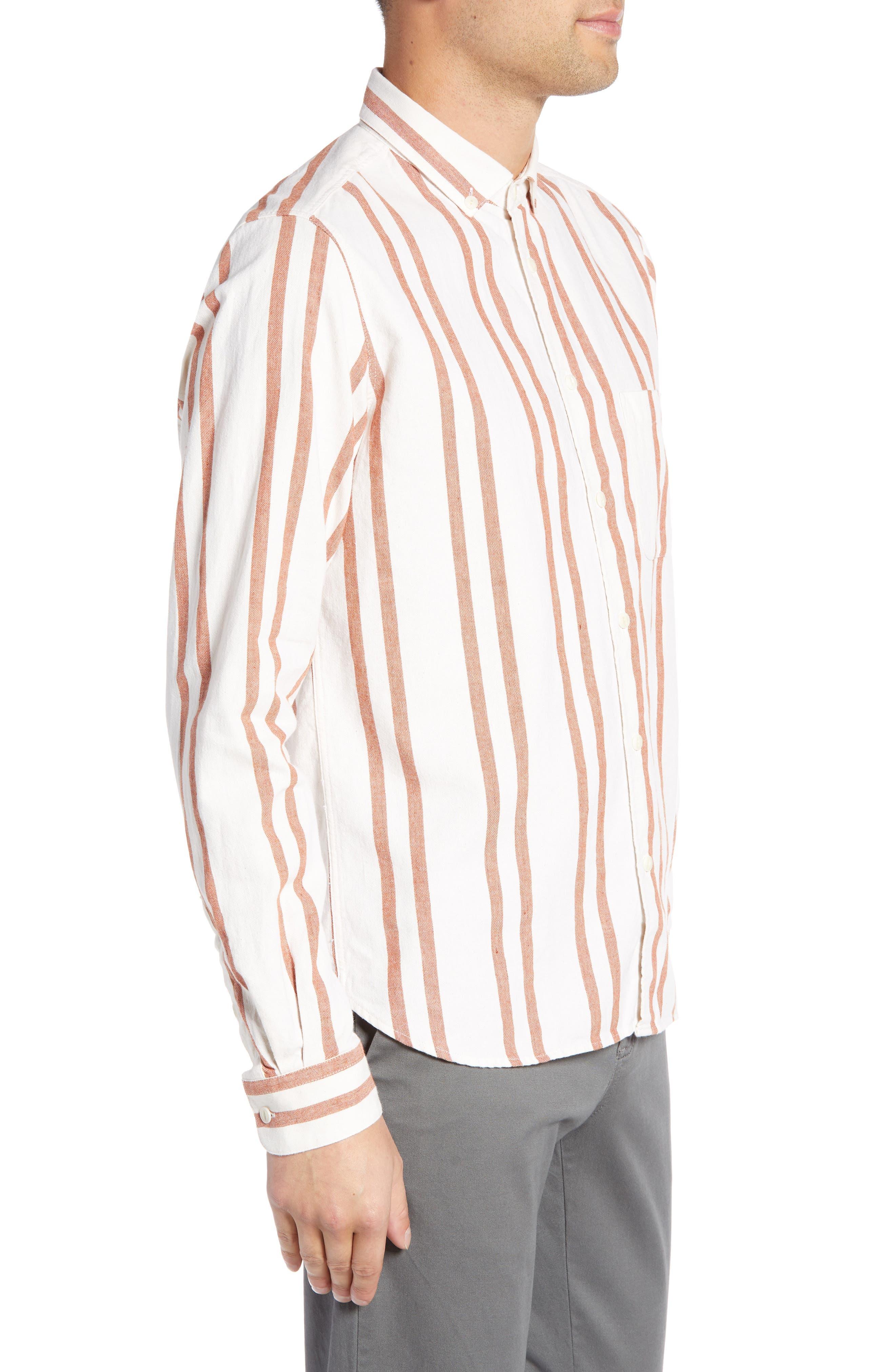 Dean Regular Fit Stripe Sport Shirt,                             Alternate thumbnail 3, color,                             ORANGE