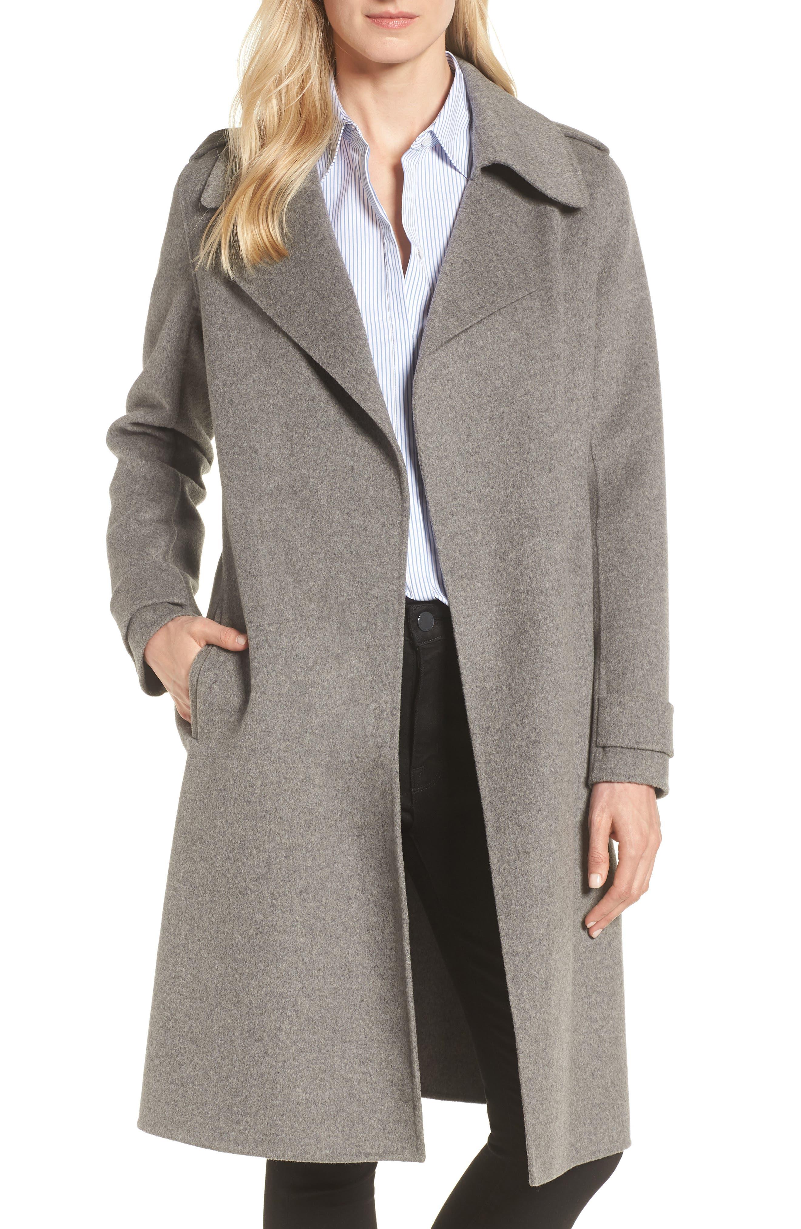 wool Blend Wrap Front Coat (Petite)