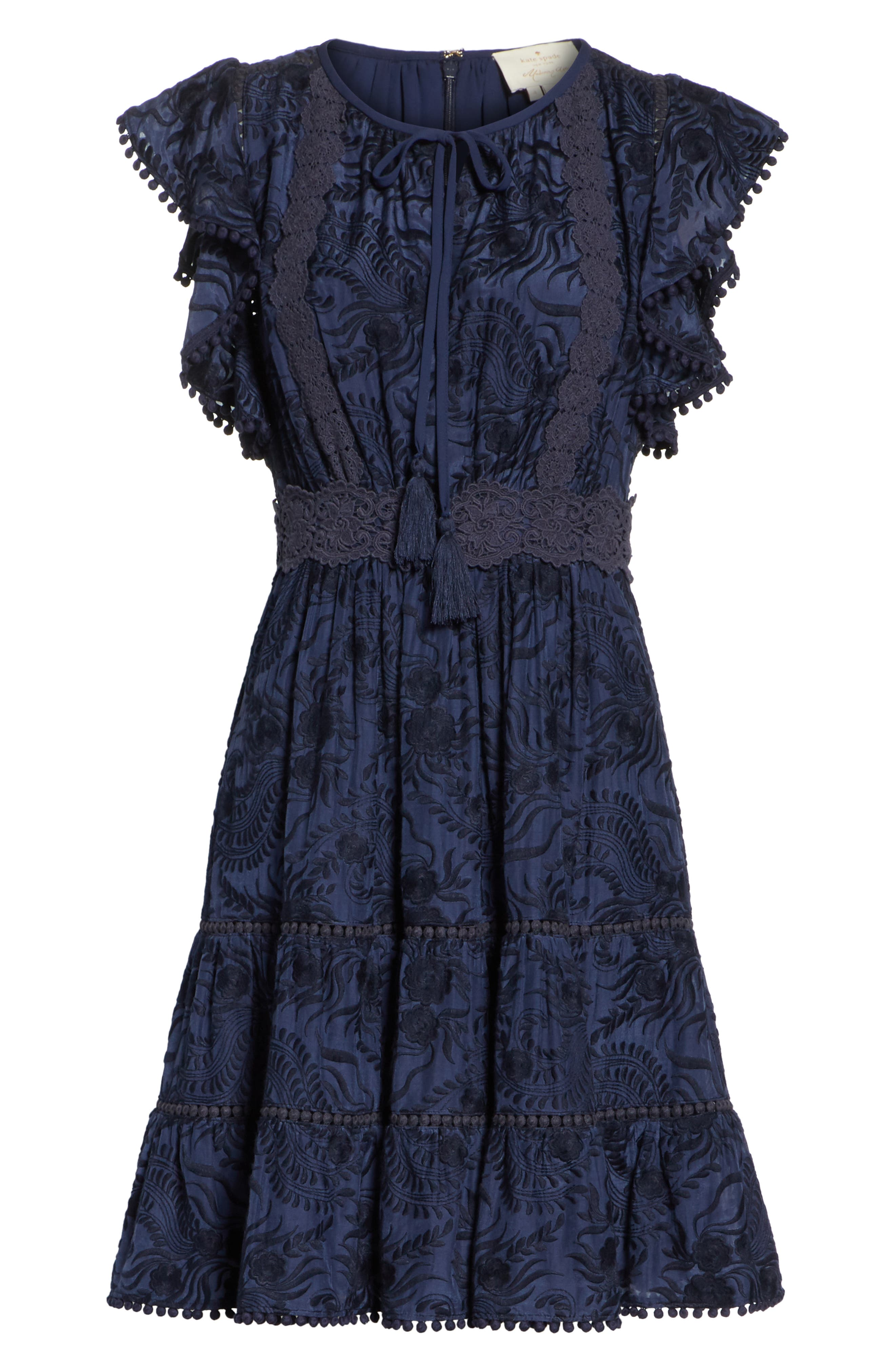 jenette cotton silk fit & flare dress,                             Alternate thumbnail 6, color,