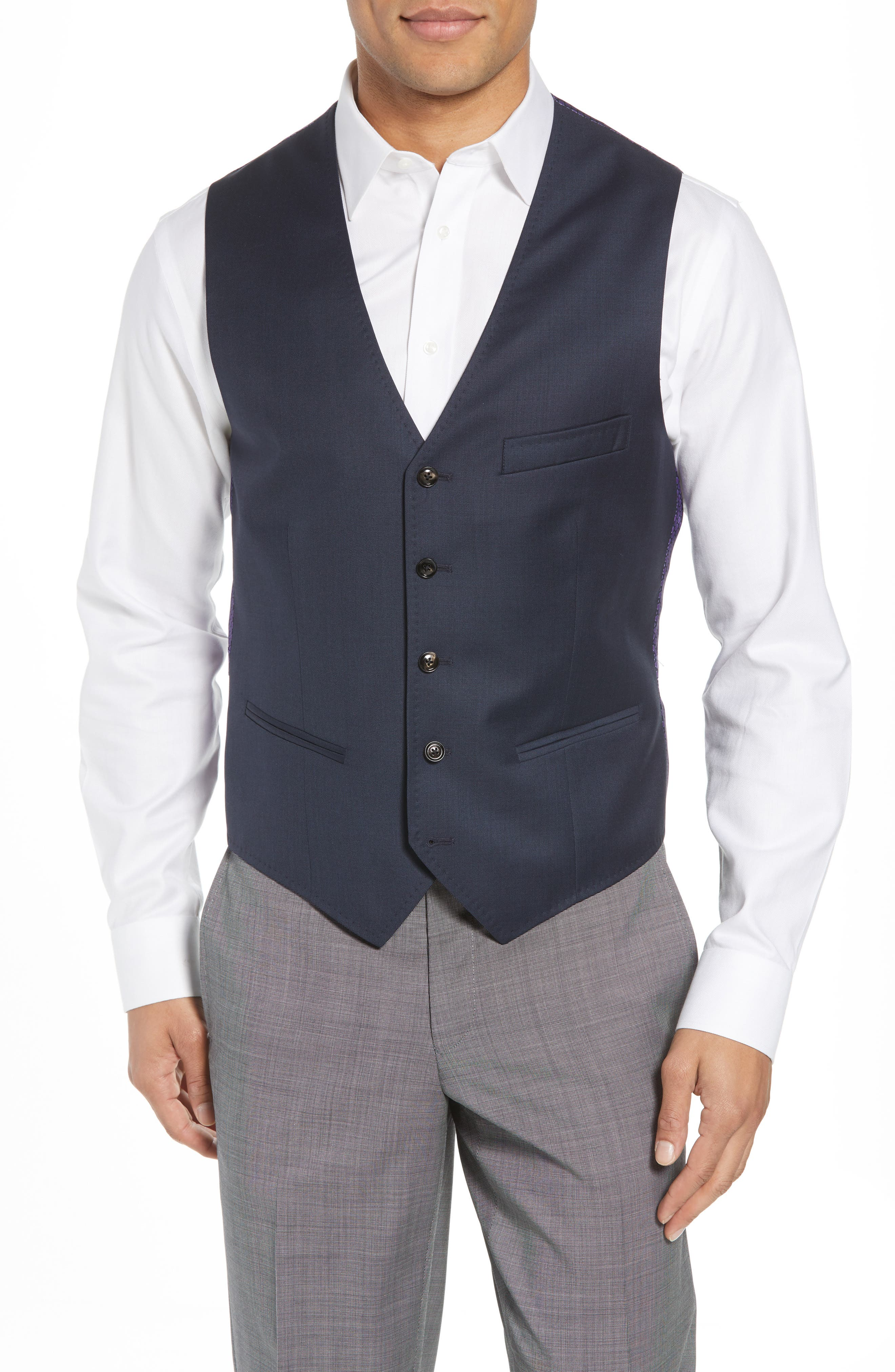 TED BAKER LONDON,                             Troy Trim Fit Solid Wool Vest,                             Main thumbnail 1, color,                             OLD BLUE