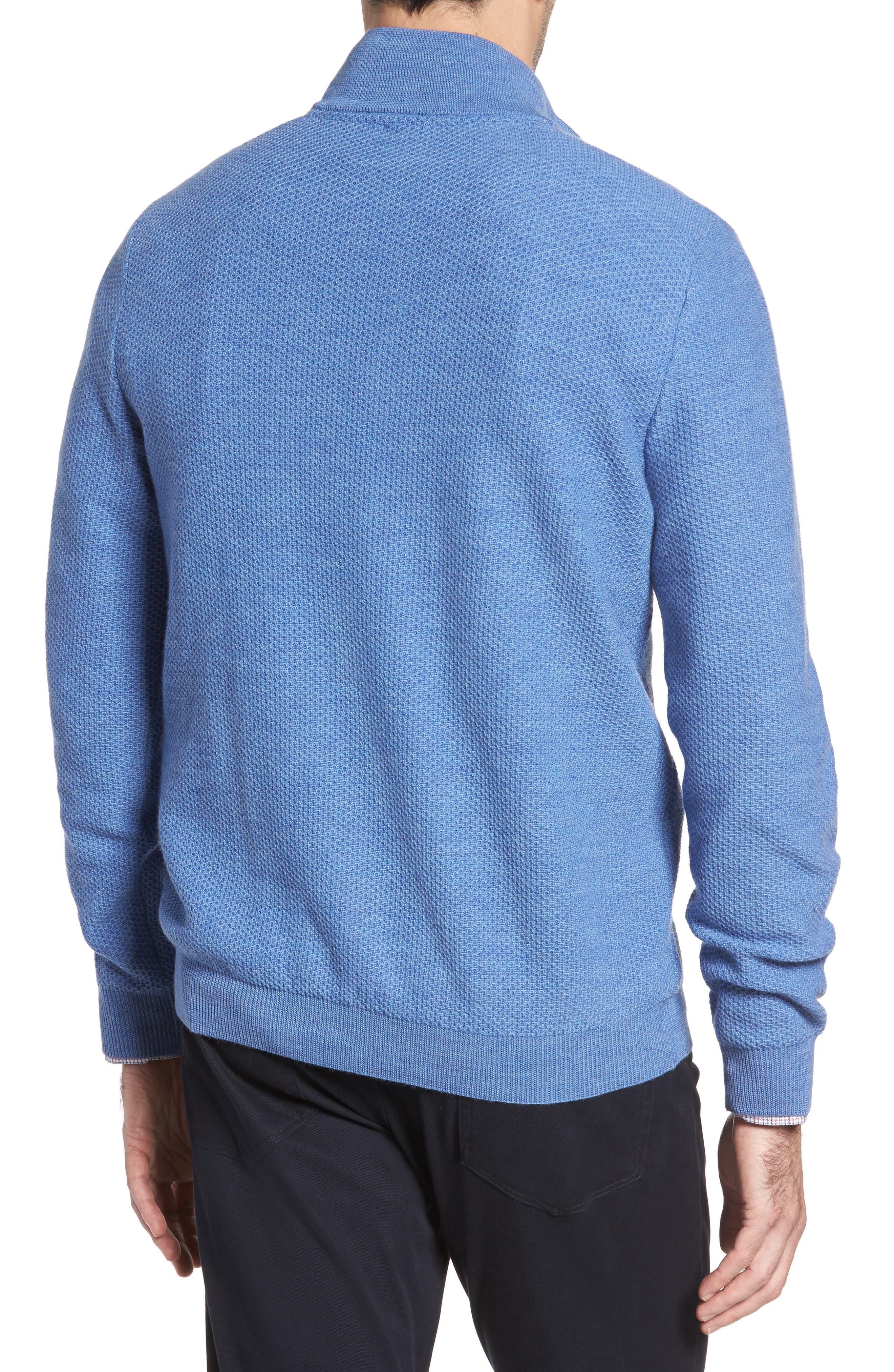 Honeycomb Merino Wool Quarter Zip Pullover,                             Alternate thumbnail 5, color,