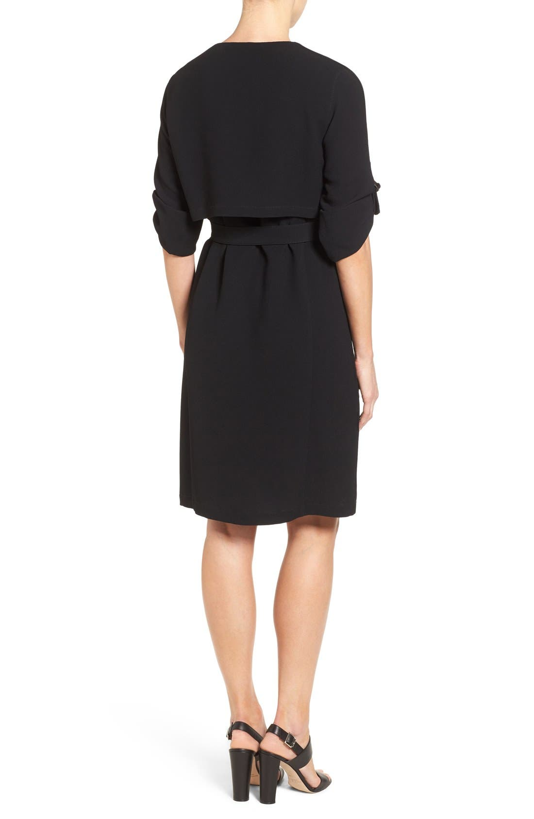 'Hamika' Belted Roll Sleeve Shirtdress,                             Alternate thumbnail 5, color,                             001