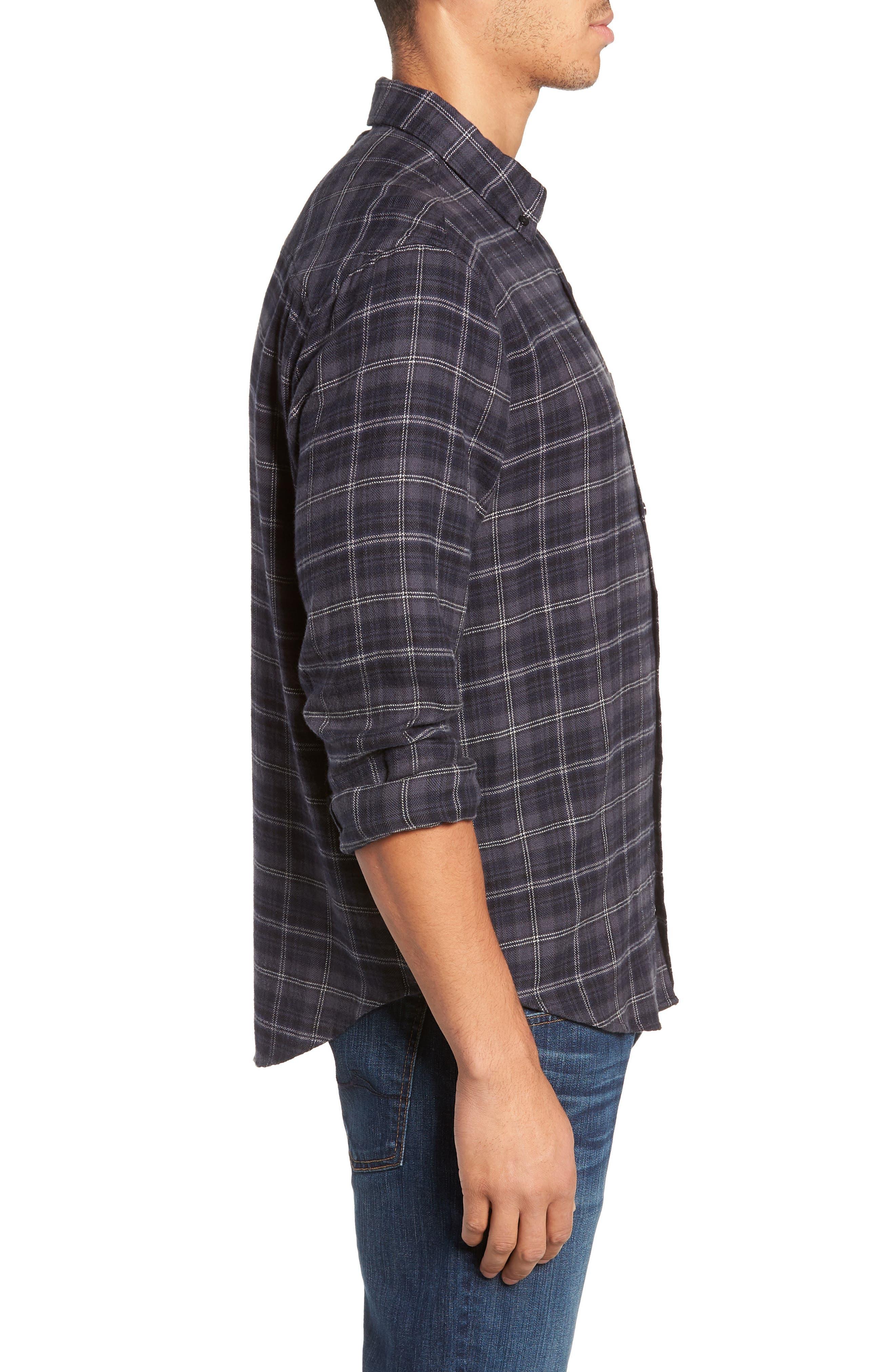 Lennox Slim Fit Plaid Sport Shirt,                             Alternate thumbnail 4, color,                             BLUE SMOKE/NAVY/BLACK