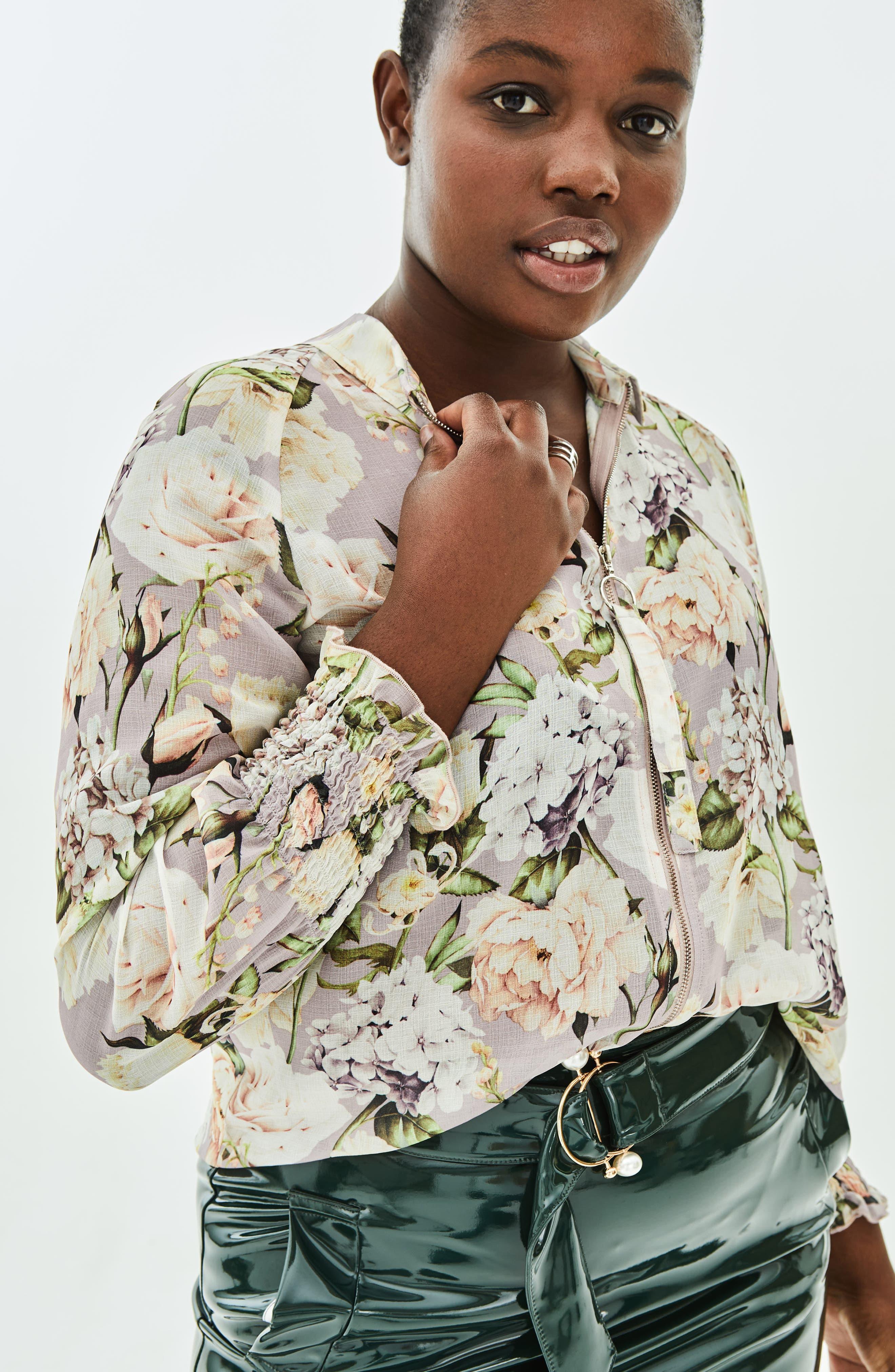 The Talinum Floral Zip Shirt,                             Alternate thumbnail 7, color,                             PURPLE