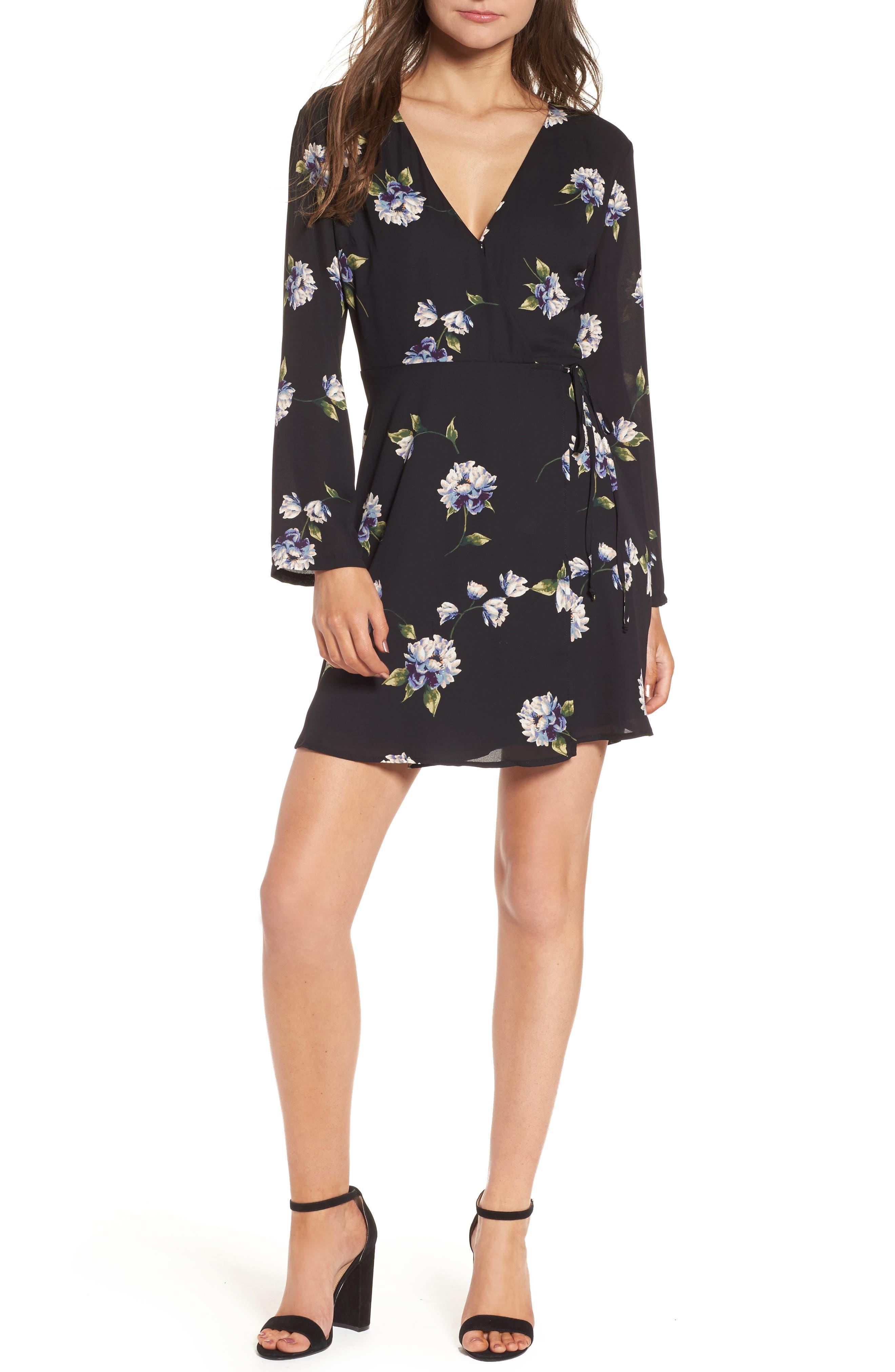 Elly Wrap Dress,                         Main,                         color, 001