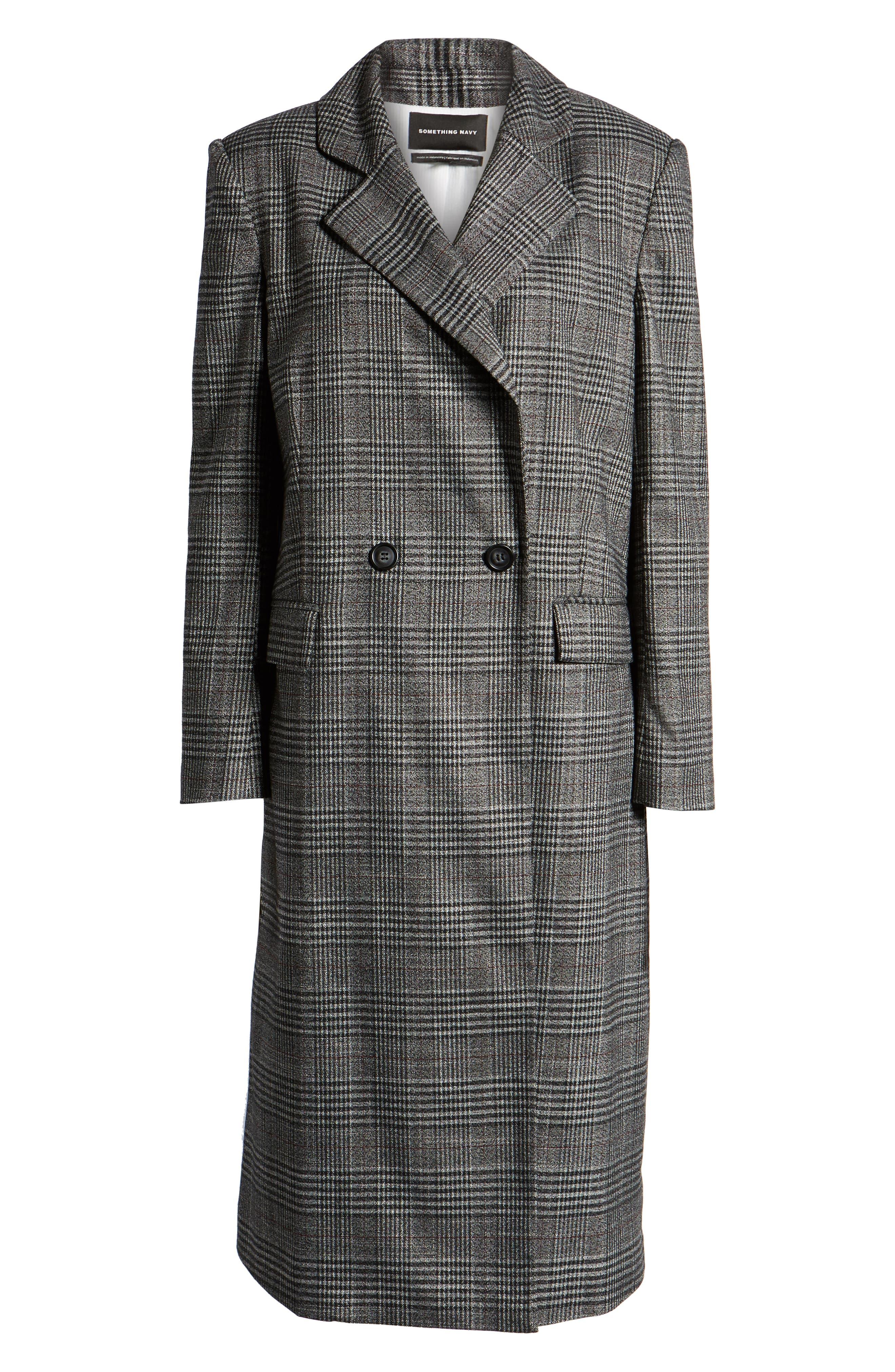 SOMETHING NAVY,                             Plaid Topper Coat,                             Alternate thumbnail 6, color,                             001
