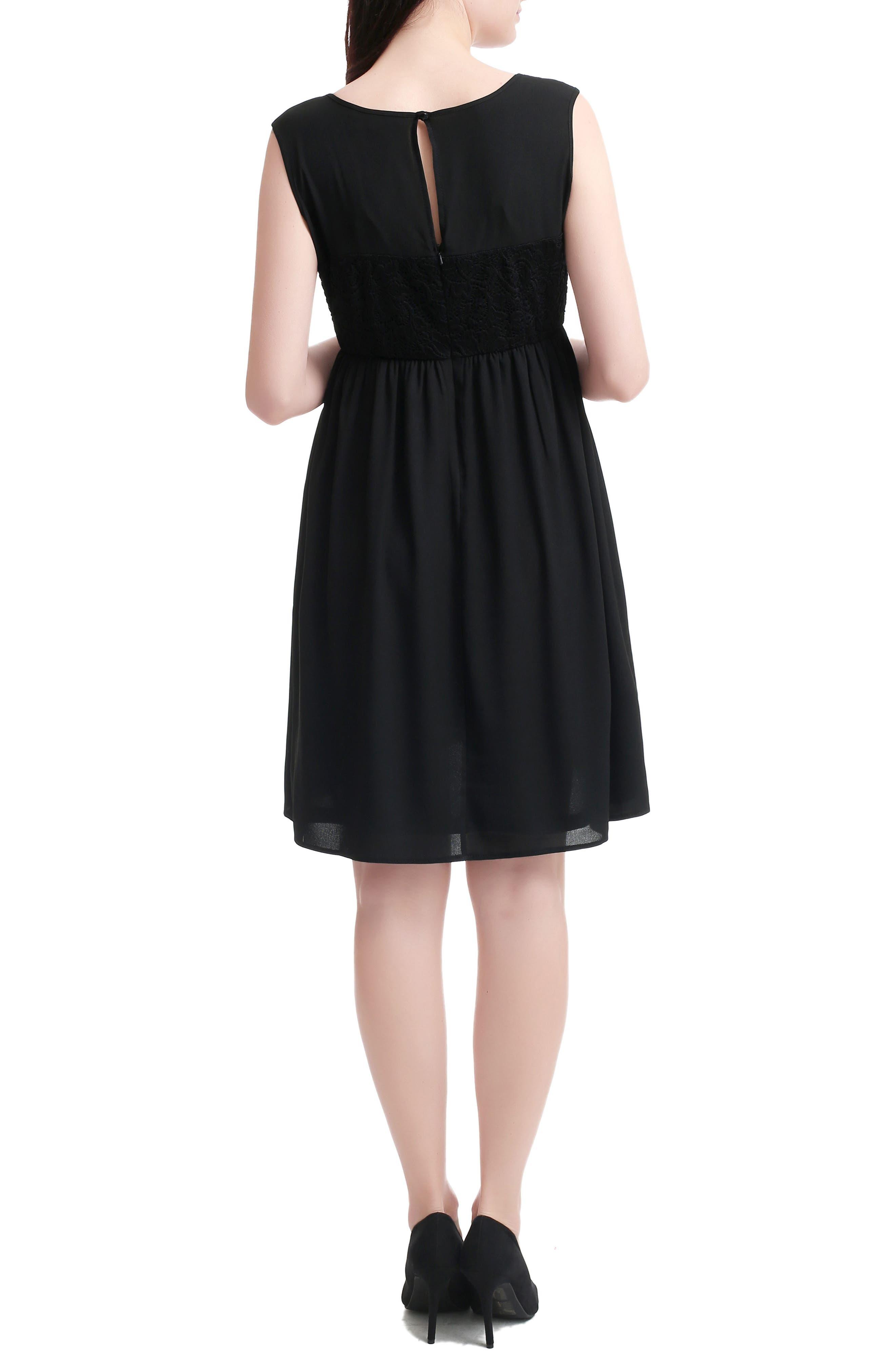 Sade Lace & Mesh Maternity Dress,                             Alternate thumbnail 2, color,                             BLACK
