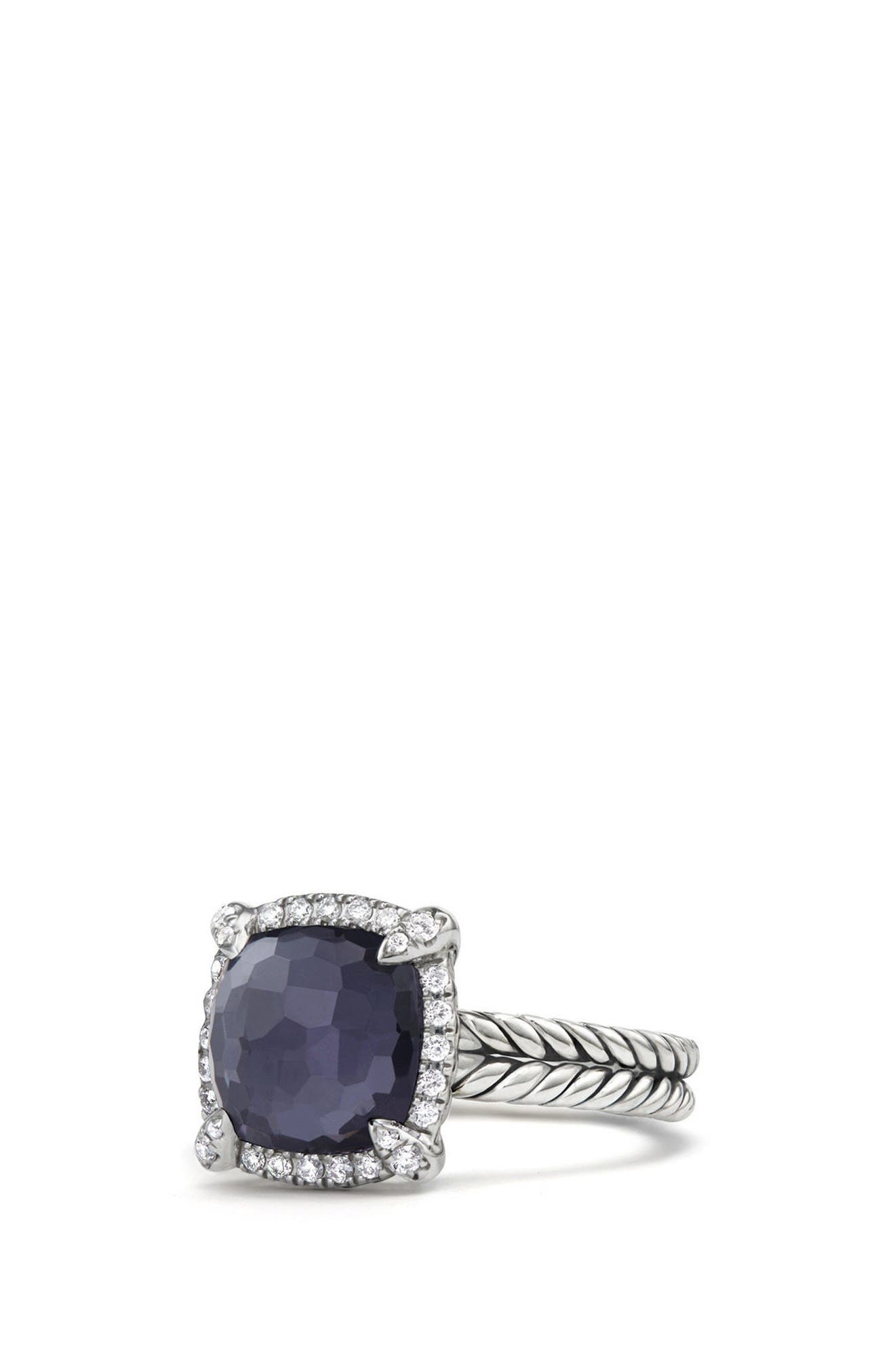 Châtelaine Pavé Bezel Ring with Black Orchid & Diamonds, 9mm,                         Main,                         color, AMETHYST/ HEMETINE
