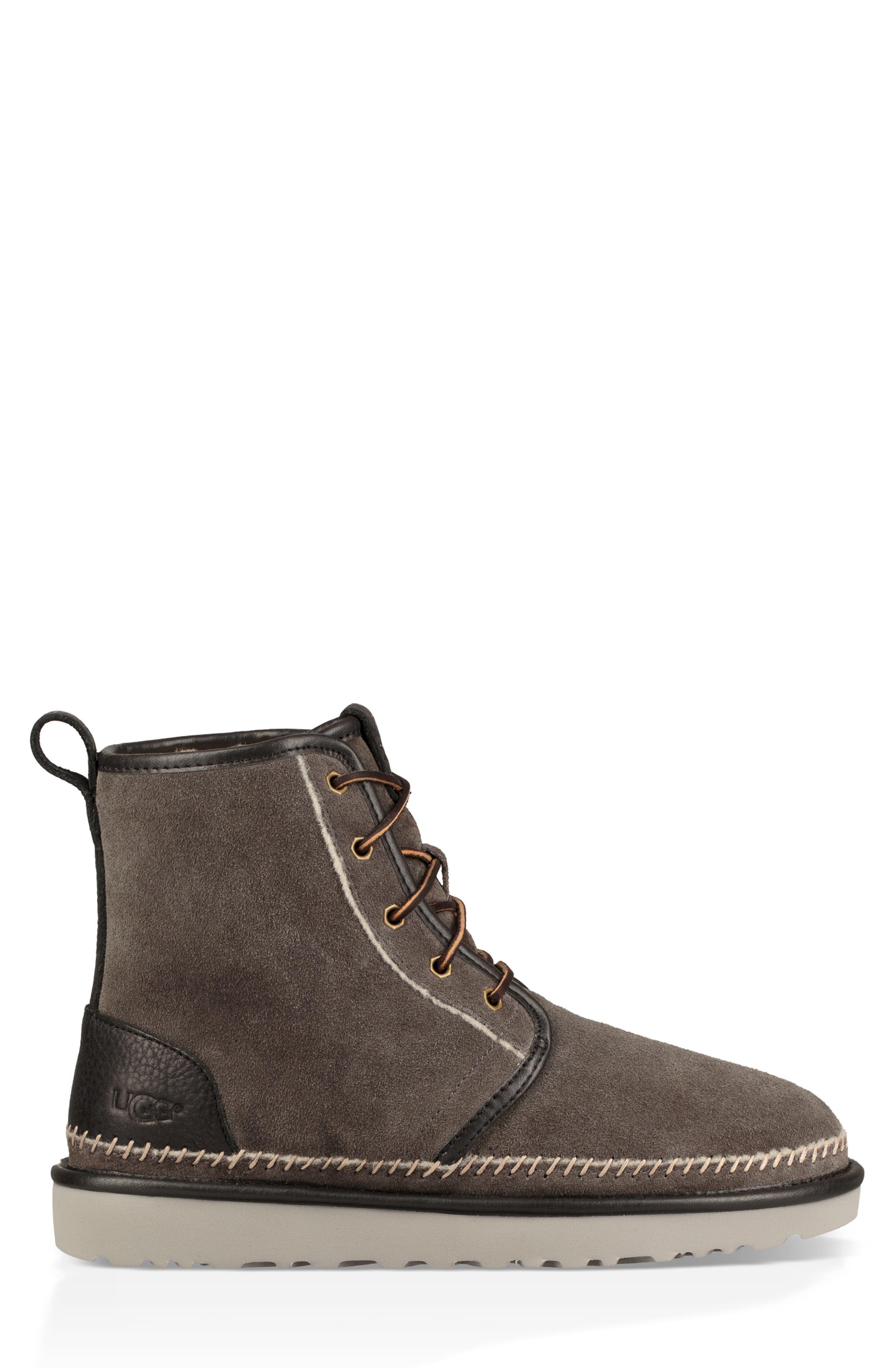 Harkley Stitch Plain Toe Boot,                             Alternate thumbnail 3, color,                             DARK GREY