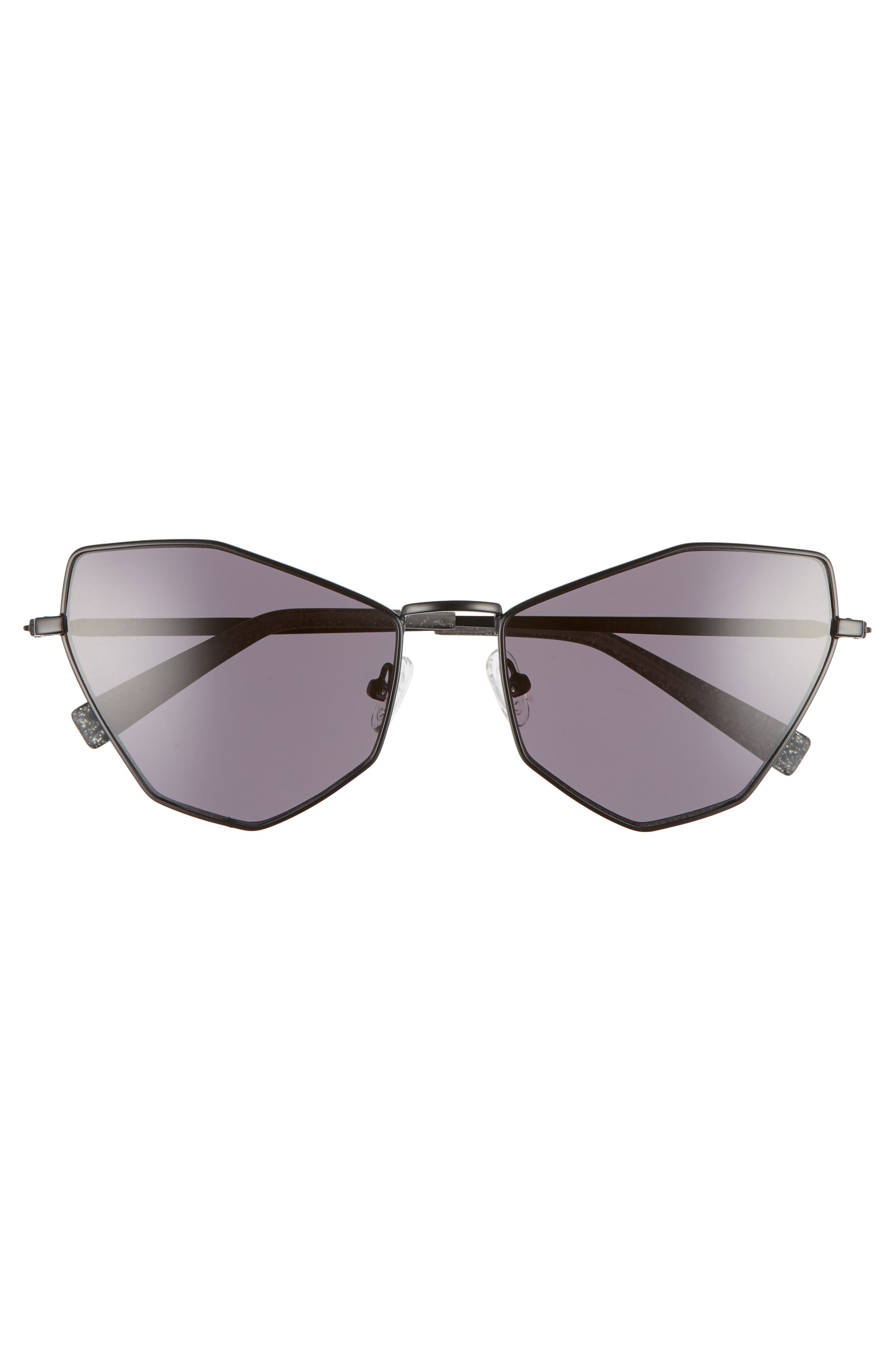 Liara 57mm Cat Eye Sunglasses,                             Alternate thumbnail 3, color,                             BLACK METAL/ SOLID SMOKE