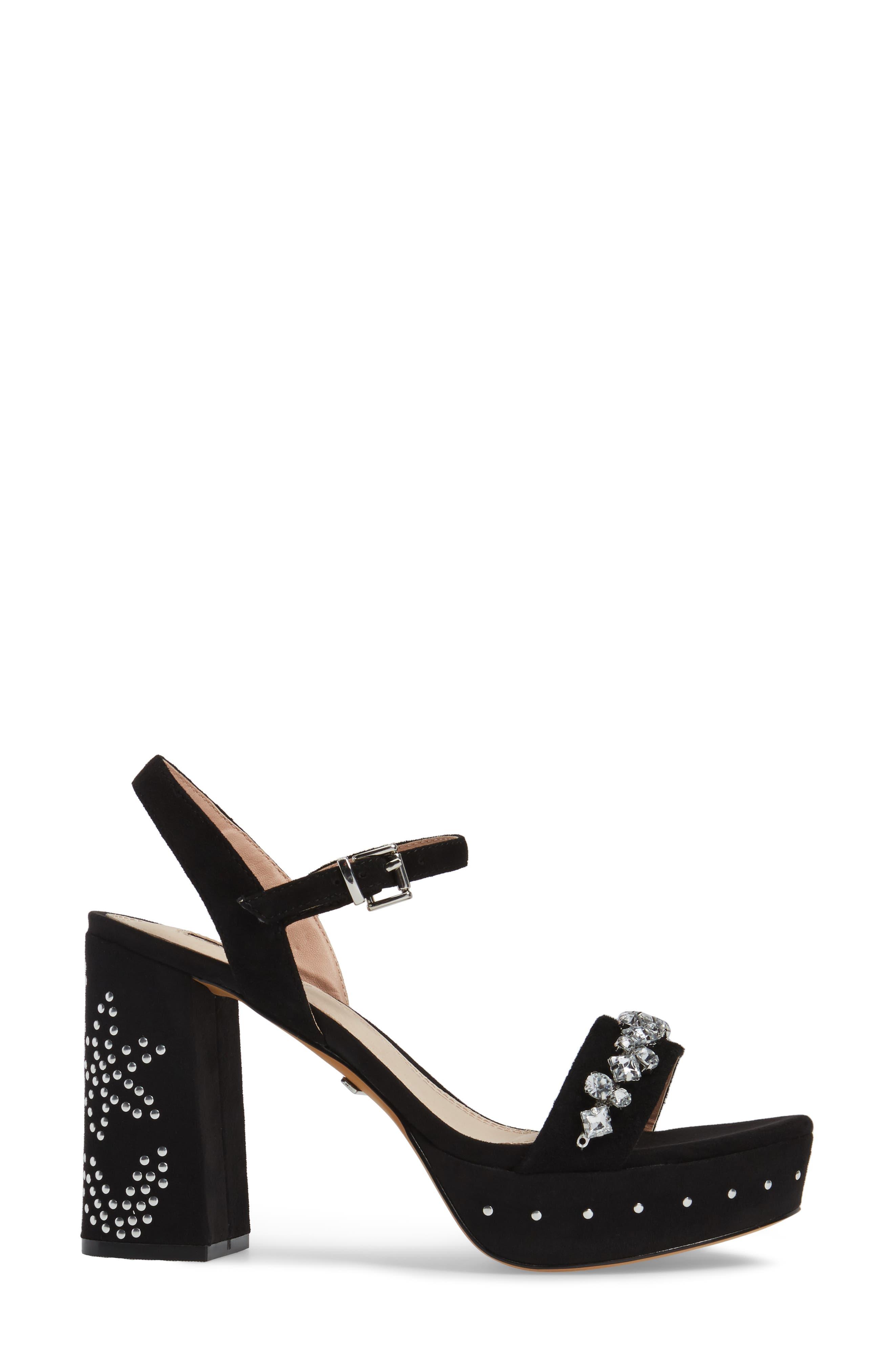 Lovely Embellished Platform Sandal,                             Alternate thumbnail 3, color,                             001