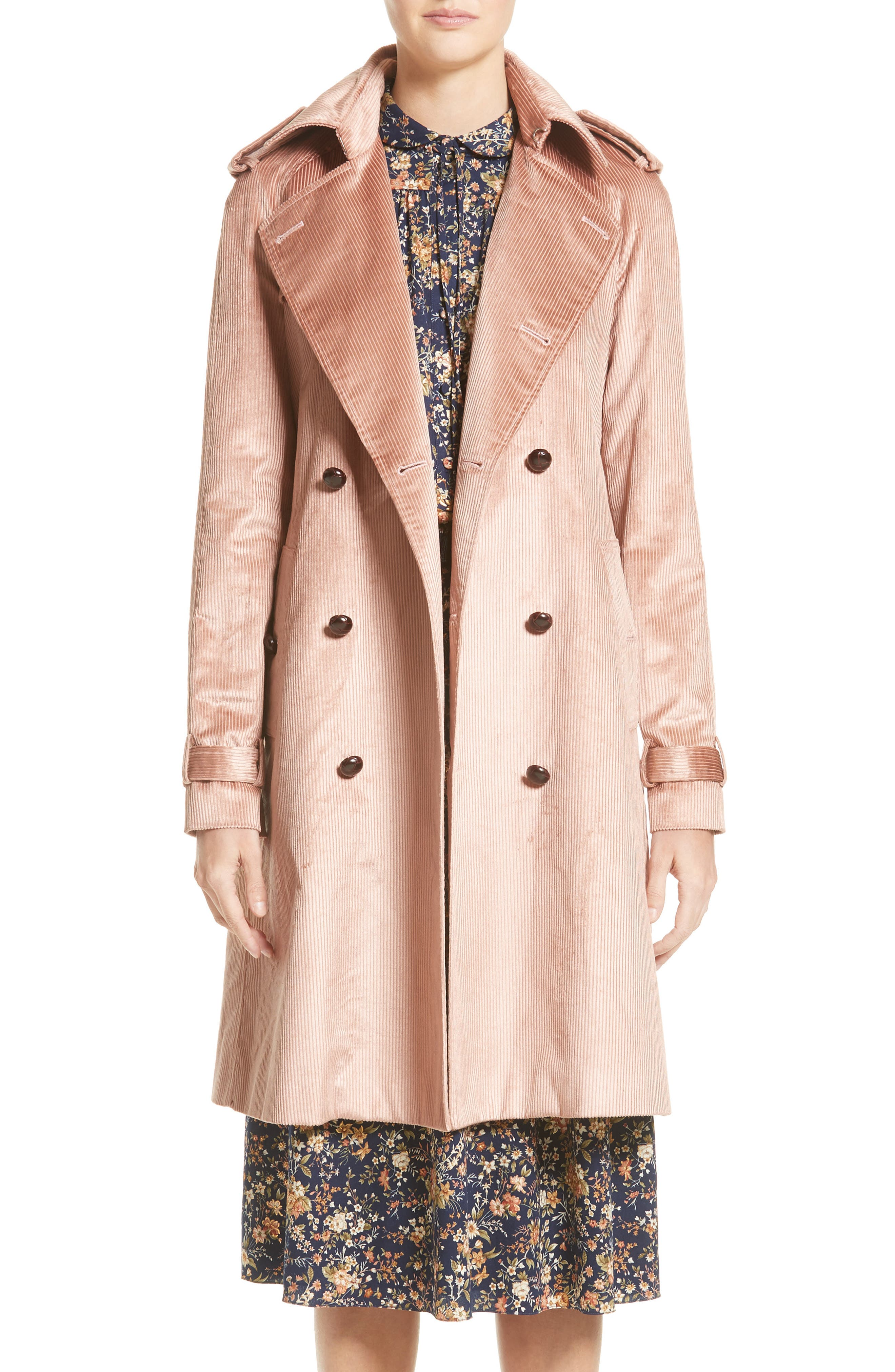 Corduroy Belted Trench Coat,                         Main,                         color, 680