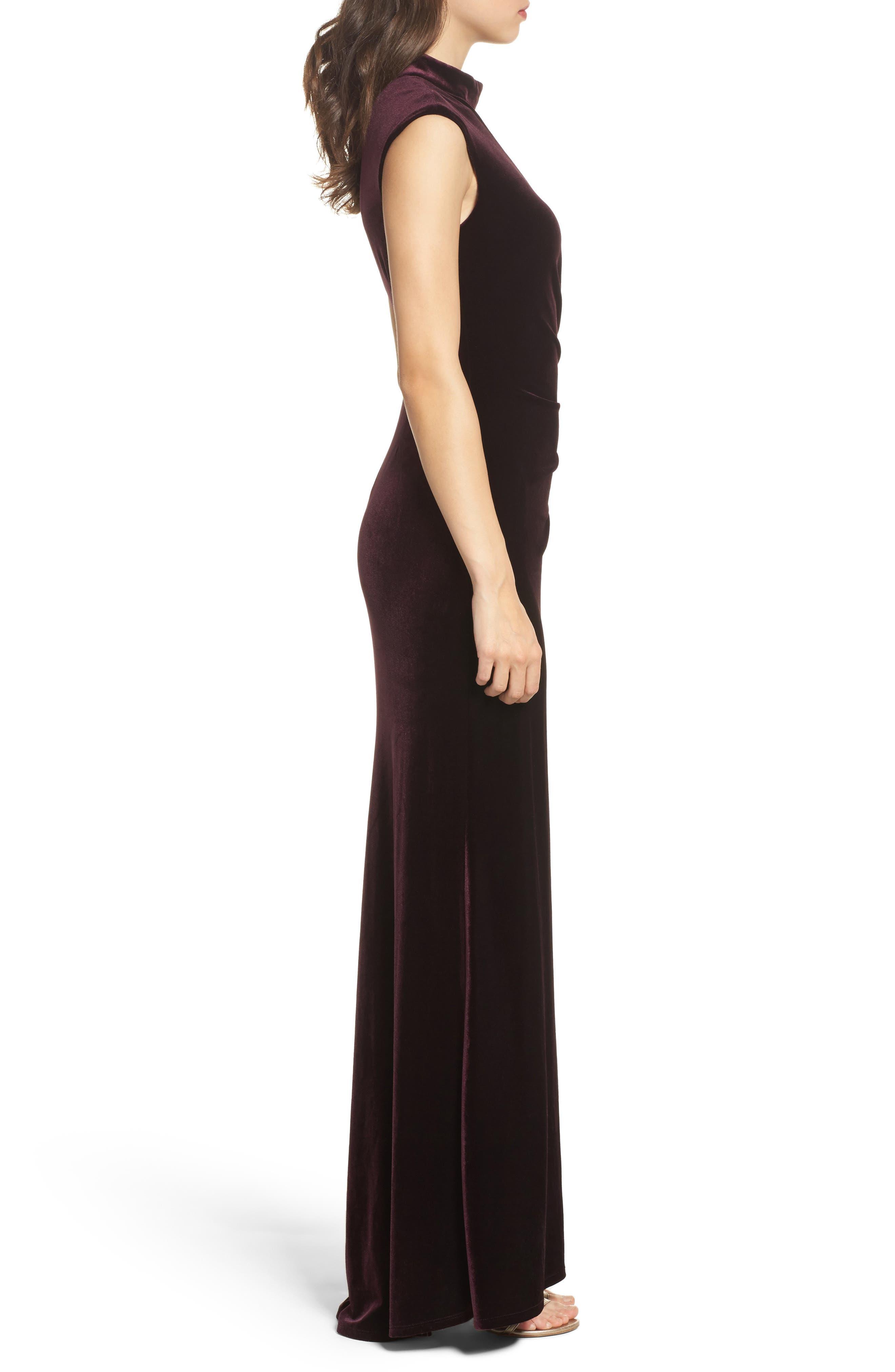 Side Pleated Velvet Choker Gown,                             Alternate thumbnail 3, color,                             507