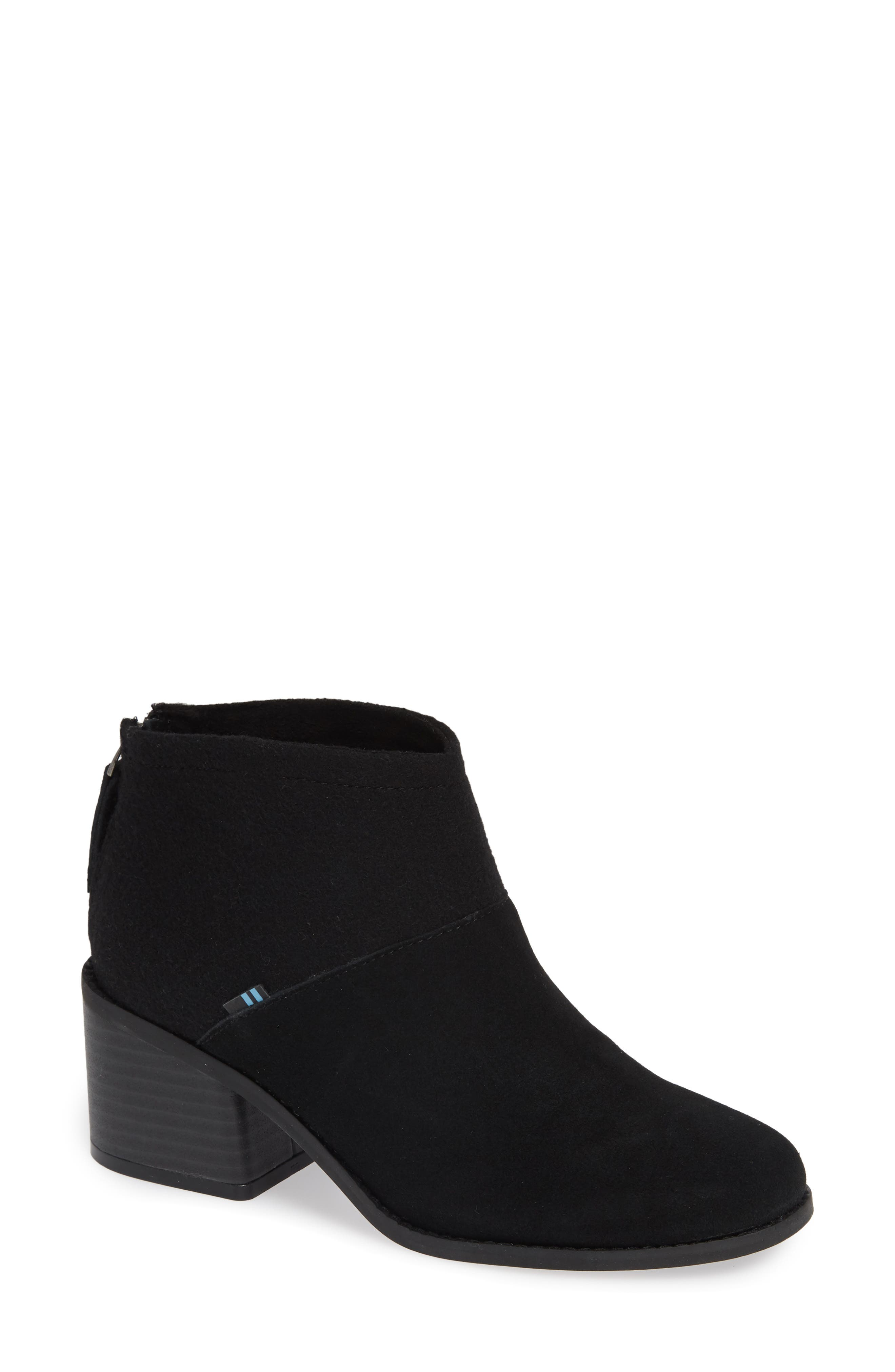 TOMS Women'S Lacy Round Toe Suede Bootie in Black Suede