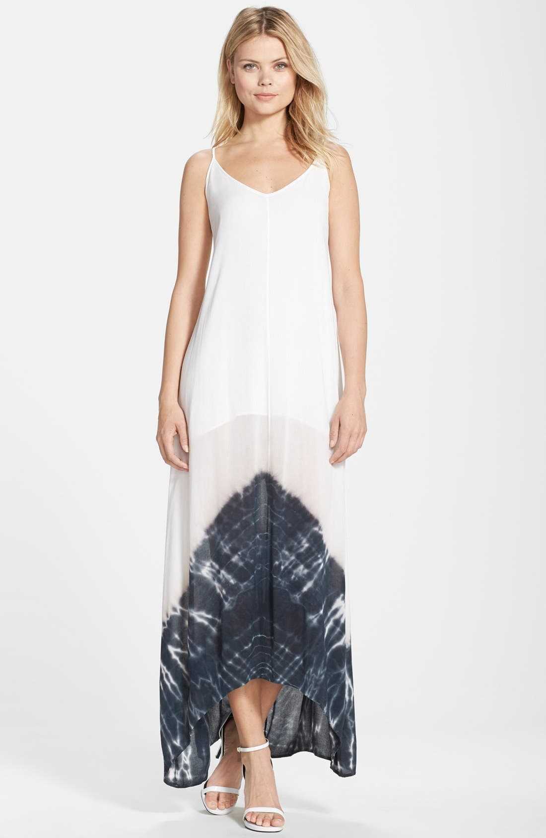 Border Print Crepe A-Line Maxi Dress,                         Main,                         color, 100
