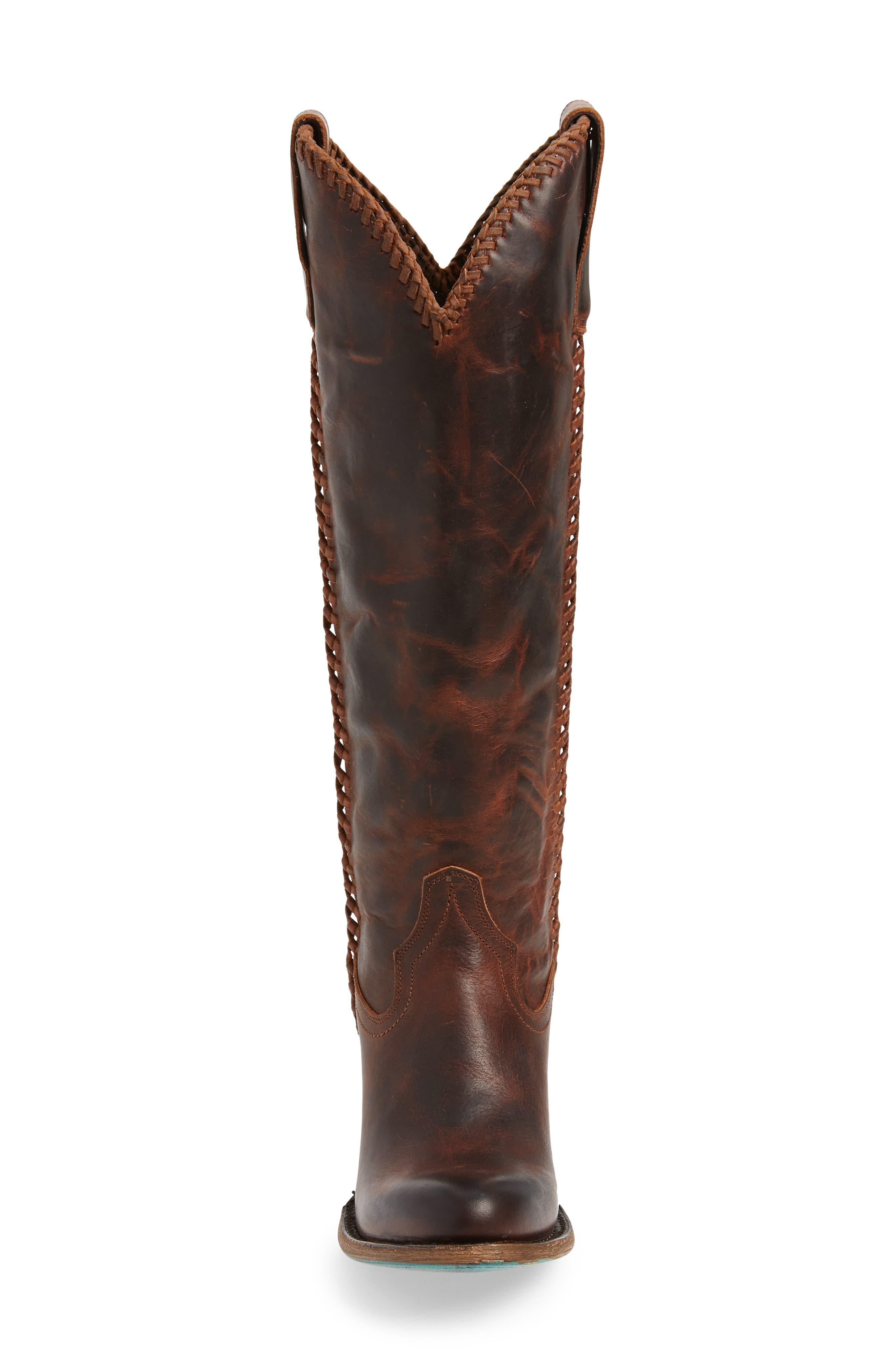 LANE BOOTS,                             Plain Jane Knee High Western Boot,                             Alternate thumbnail 4, color,                             COGNAC LEATHER