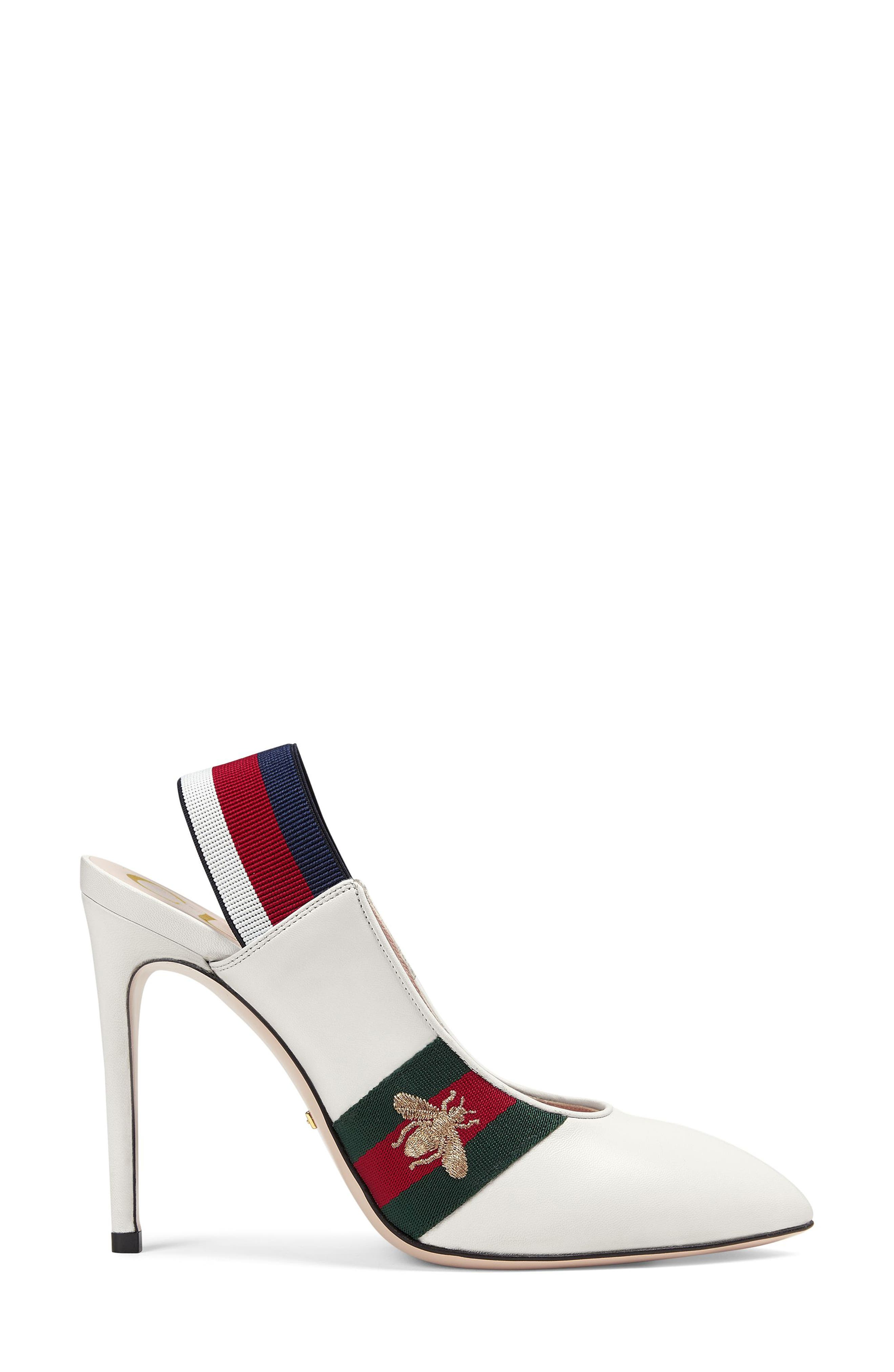 Sylvie Bee Slingback Pump,                             Alternate thumbnail 2, color,                             WHITE