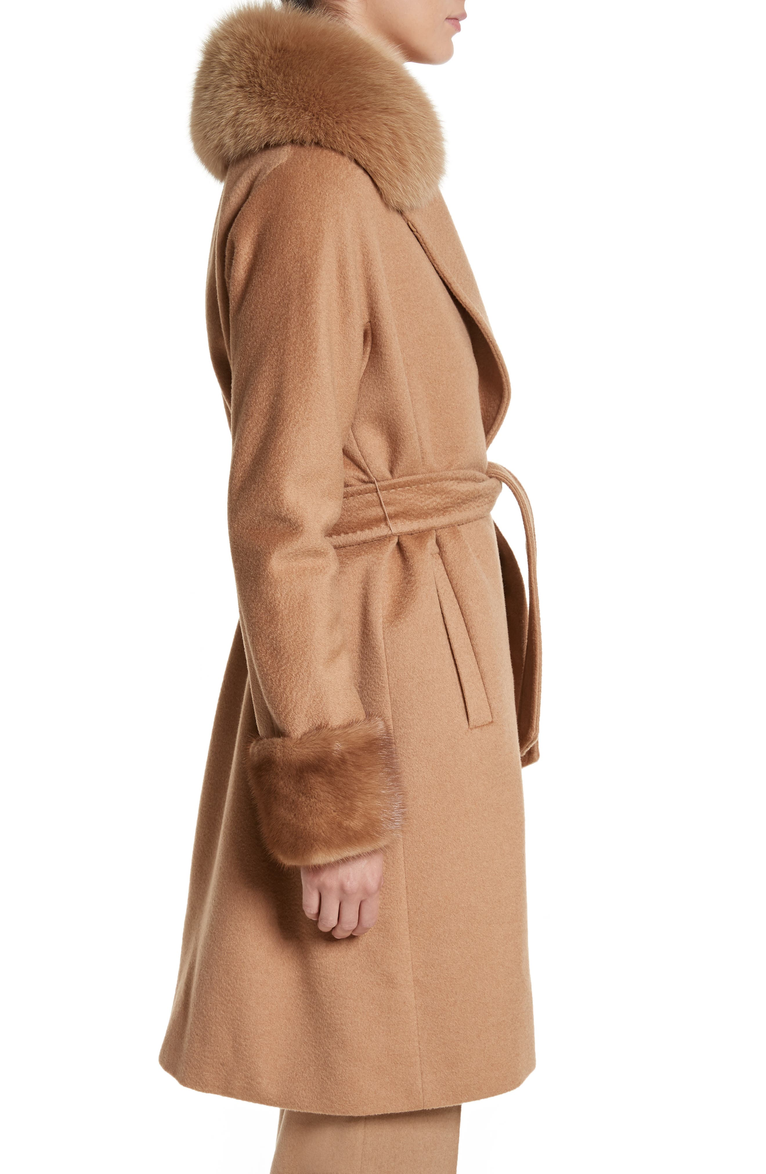 Camel Hair Coat with Genuine Fox Fur & Genuine Mink Fur Trim,                             Alternate thumbnail 3, color,                             232