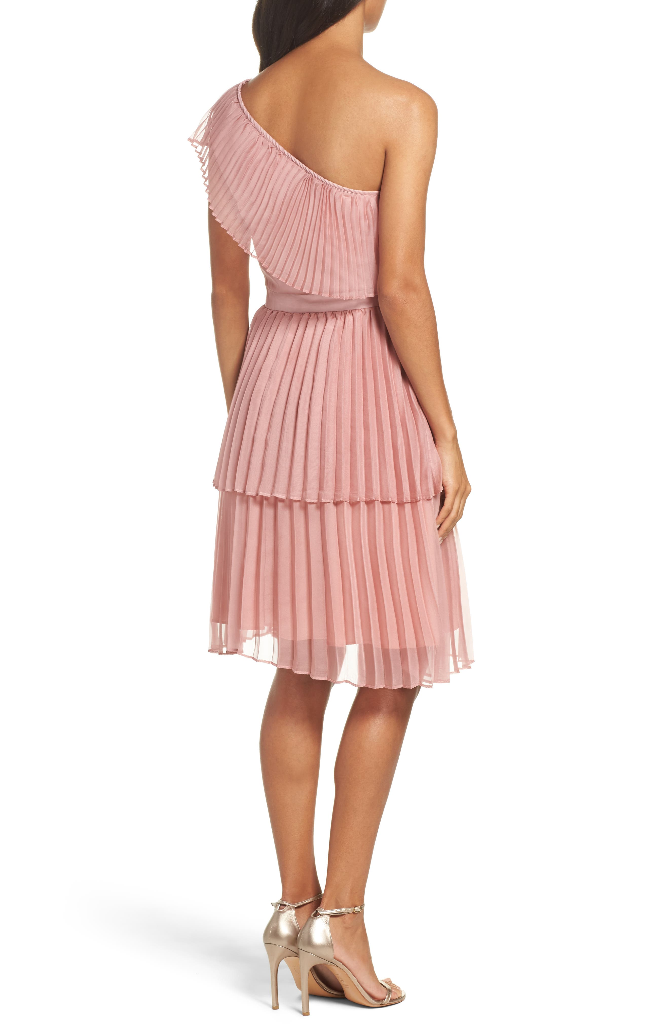 Pleated Tiered One-Shoulder Dress,                             Alternate thumbnail 2, color,