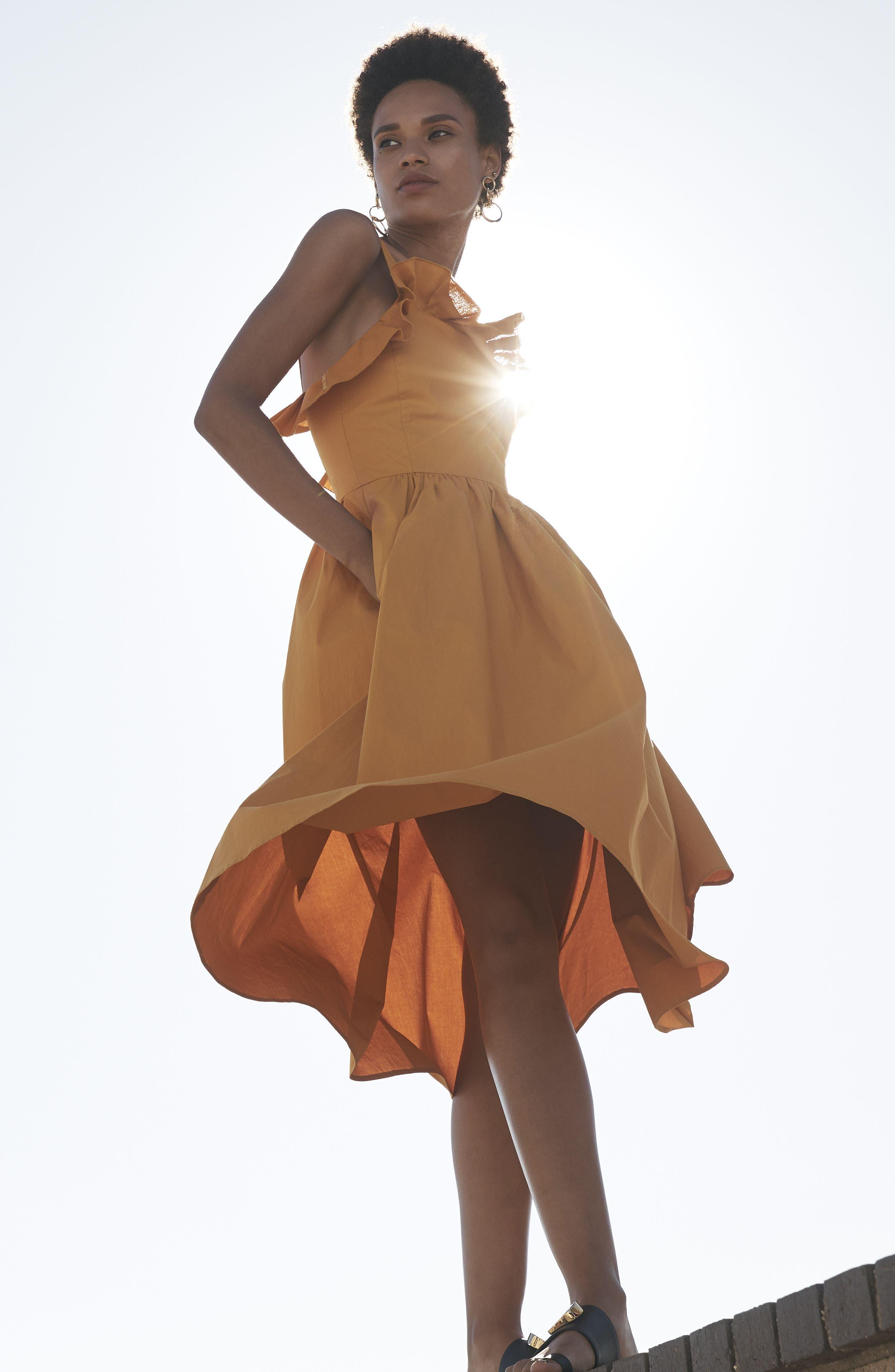 Sunrise Ruffle Midi Dress,                             Alternate thumbnail 7, color,                             800