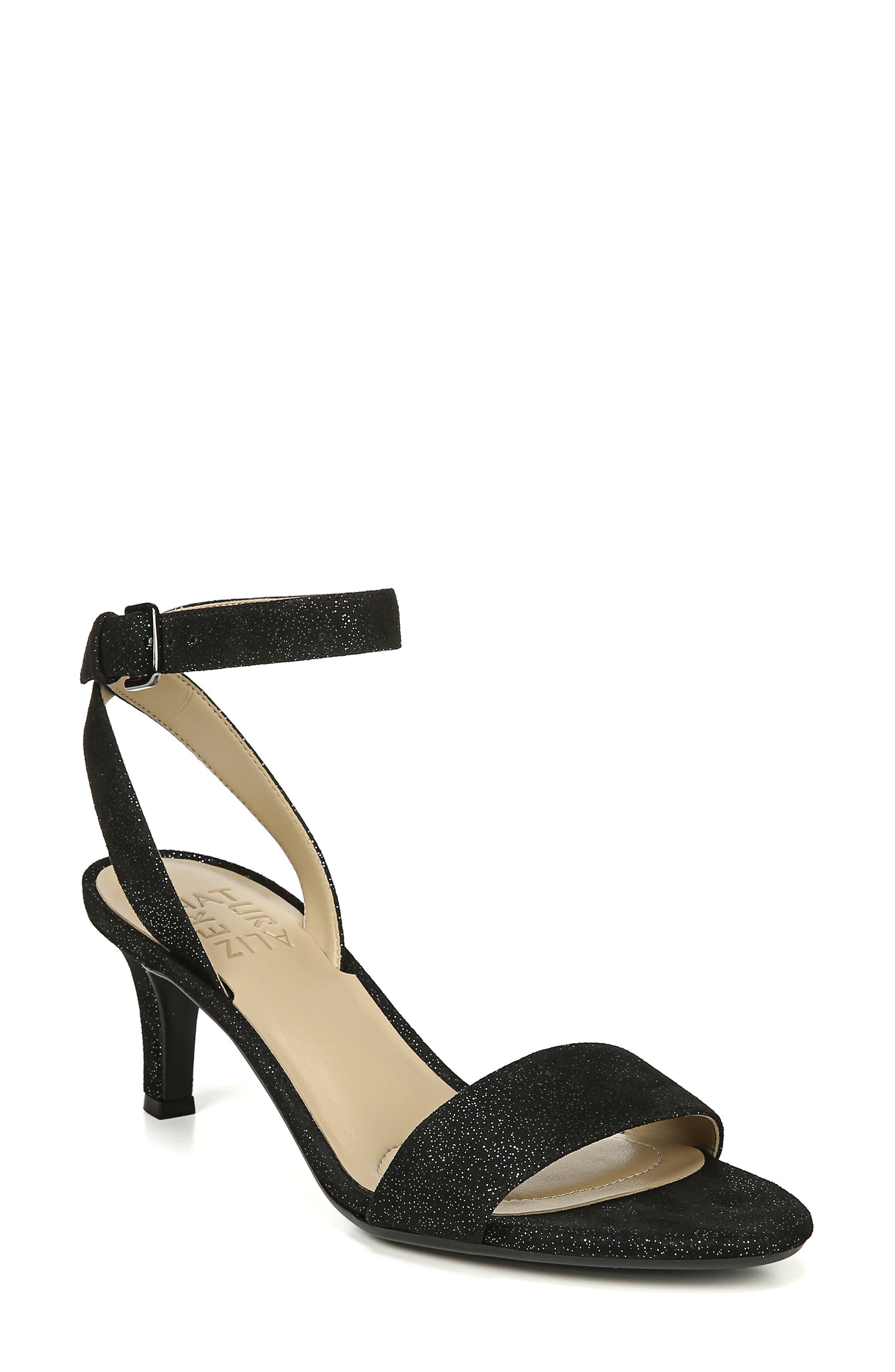 Tinda Sandal,                         Main,                         color, BLACK GLITTER SUEDE