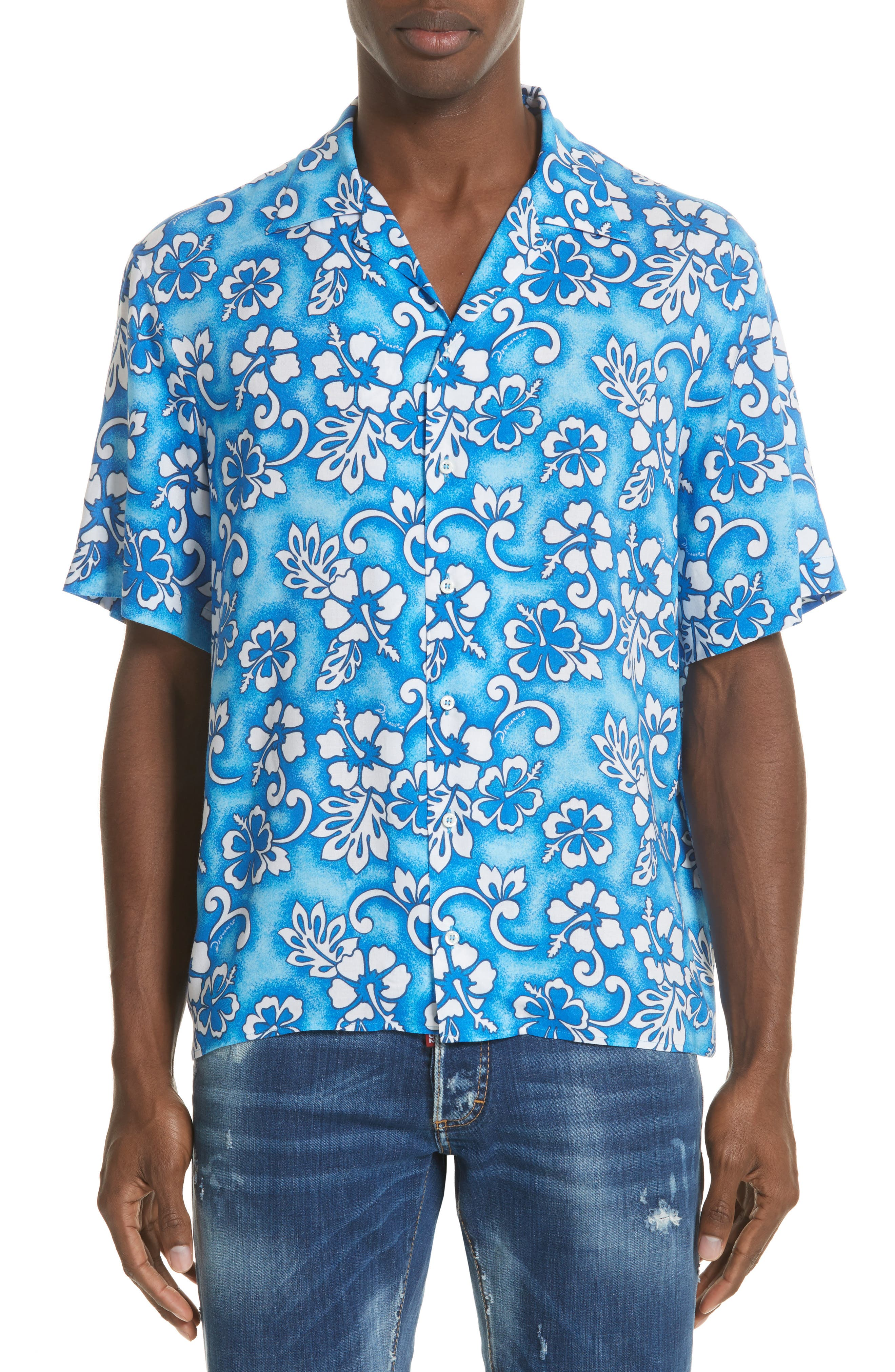 Floral Print Camp Shirt,                         Main,                         color, 400