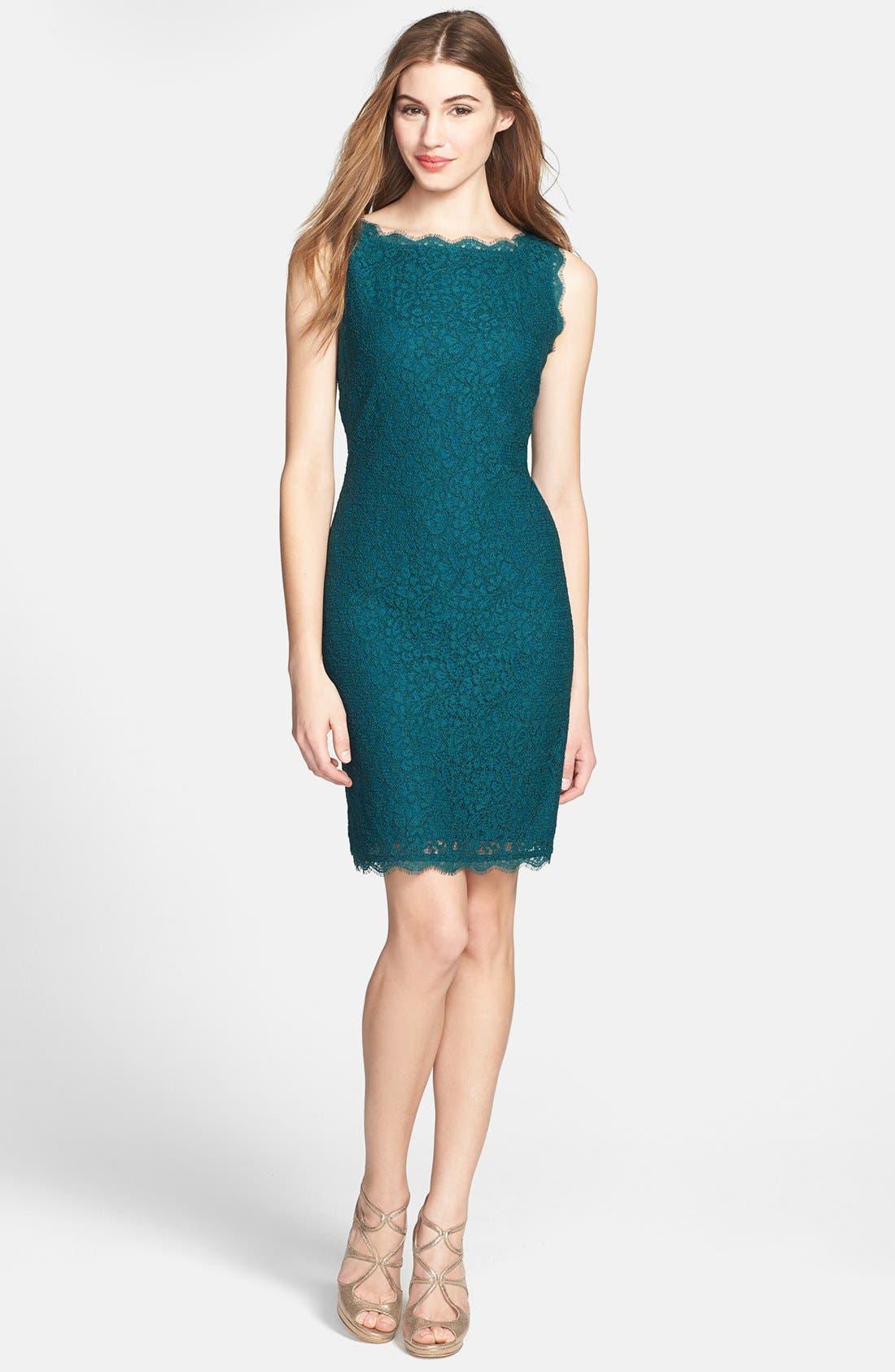 Boatneck Lace Sheath Dress,                             Alternate thumbnail 145, color,