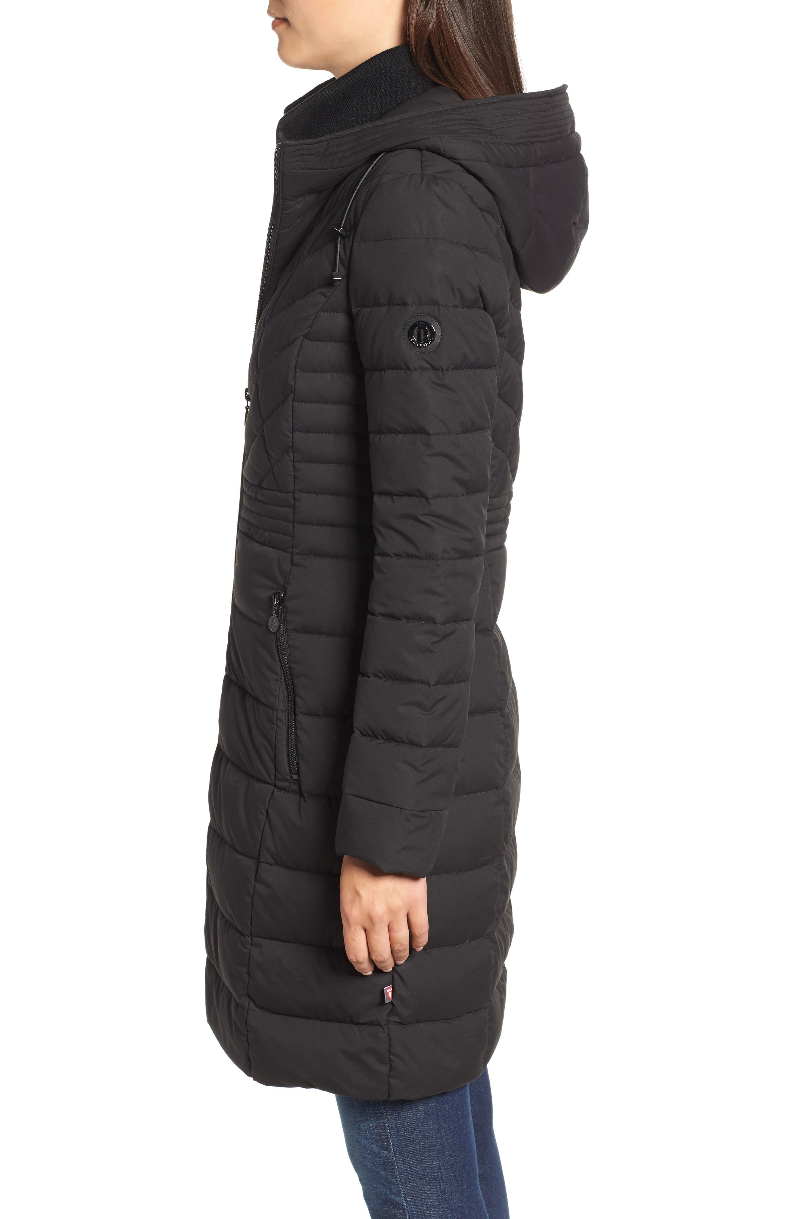 Stretch Quilted Walker Coat,                             Alternate thumbnail 3, color,                             001