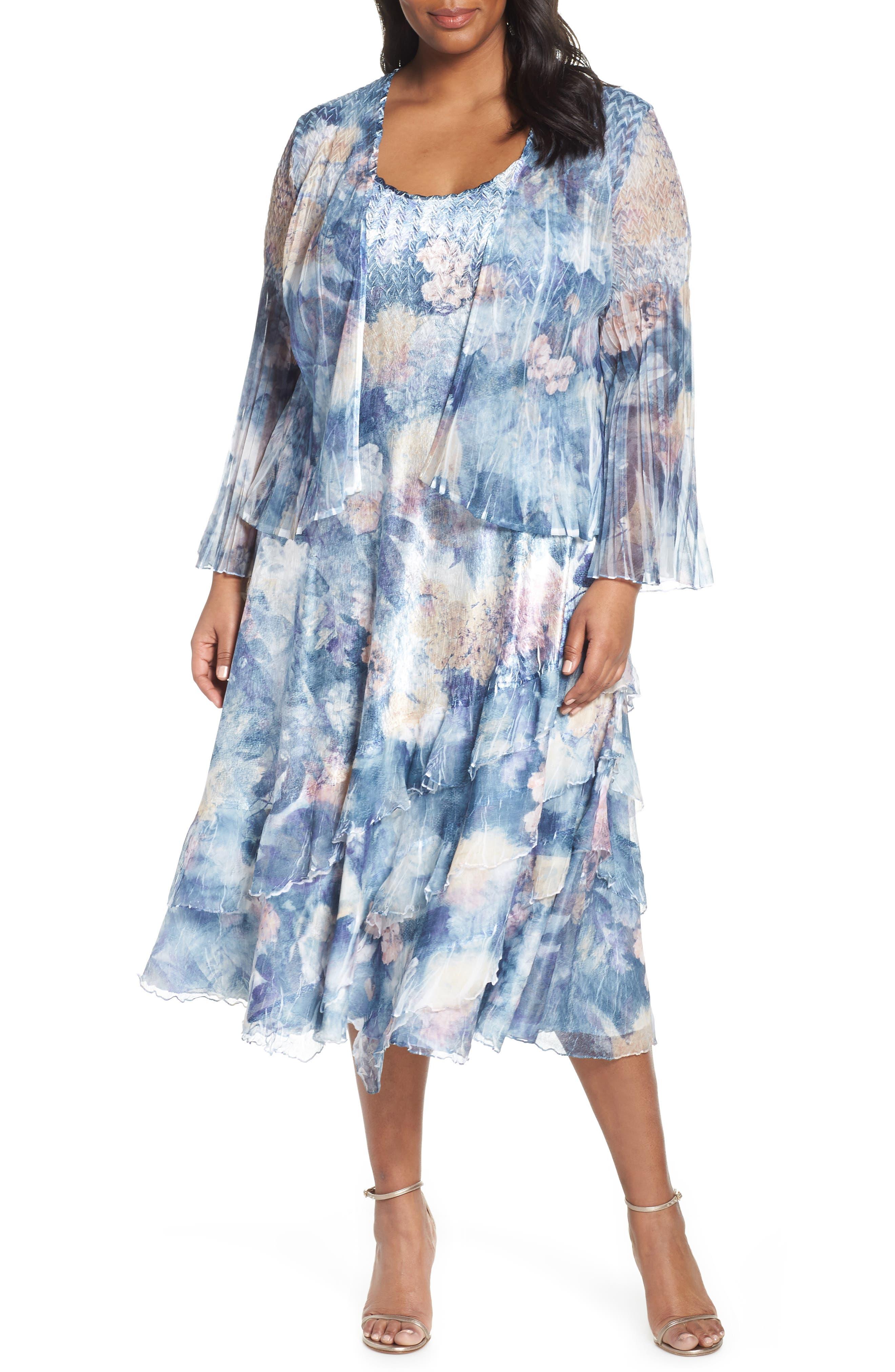 Plus Size Komarov Floral Print Midi Dress & Jacket, Blue